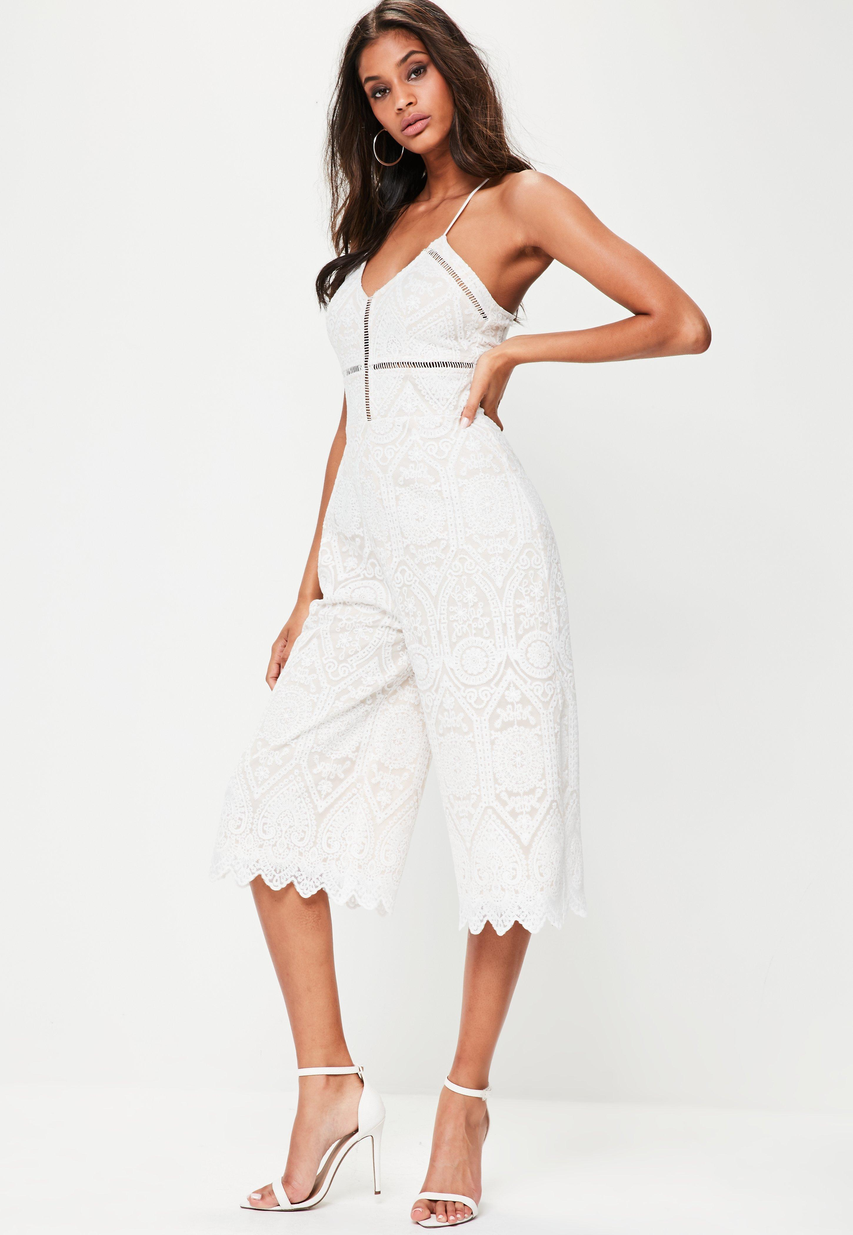 8268b0e1fe6d Missguided White Cami Lace Culotte Jumpsuit in White - Lyst