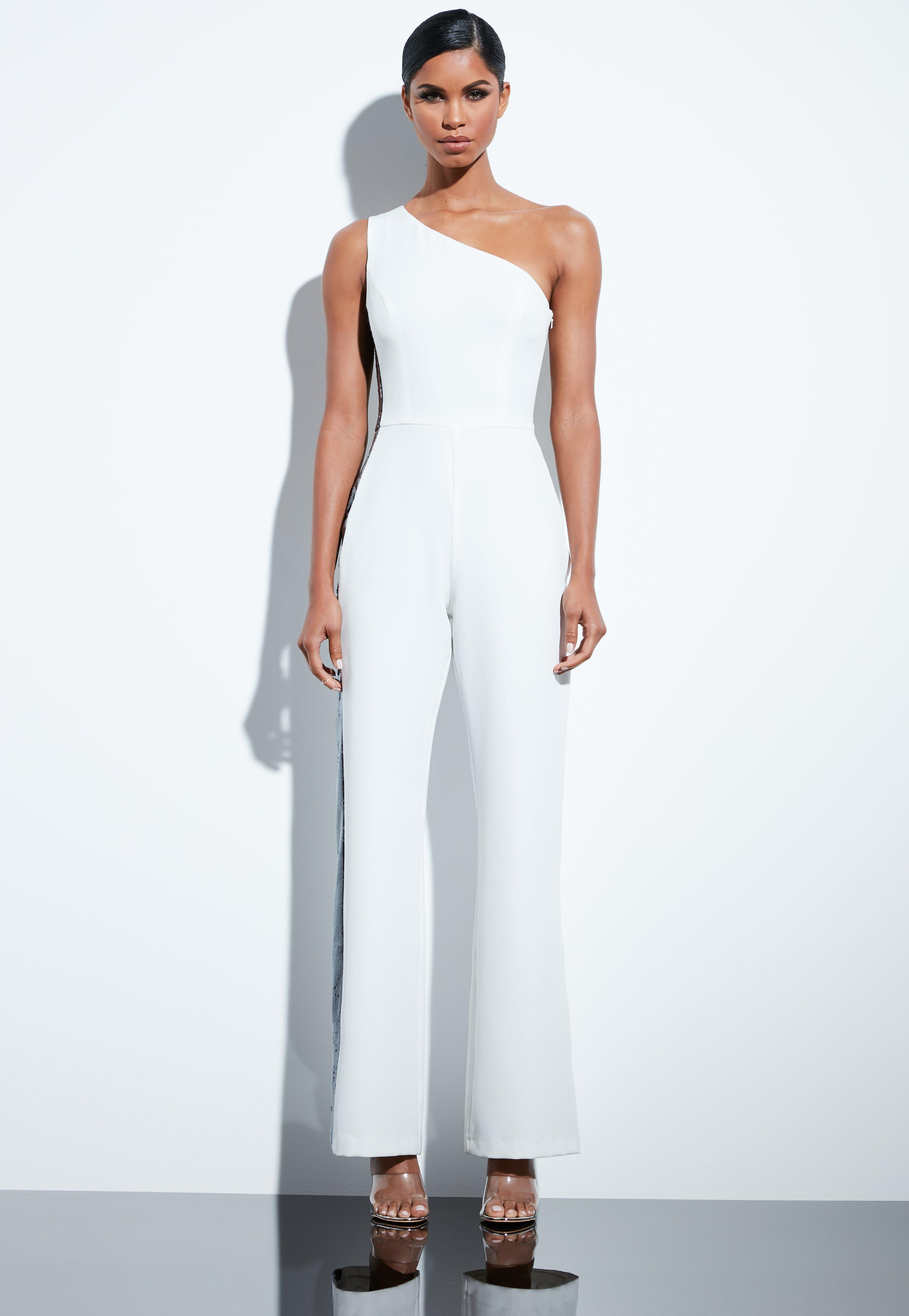 a897796ee693 Missguided - Peace + Love White Sequin Side Panel Tailored One Shoulder  Jumpsuit - Lyst. View fullscreen