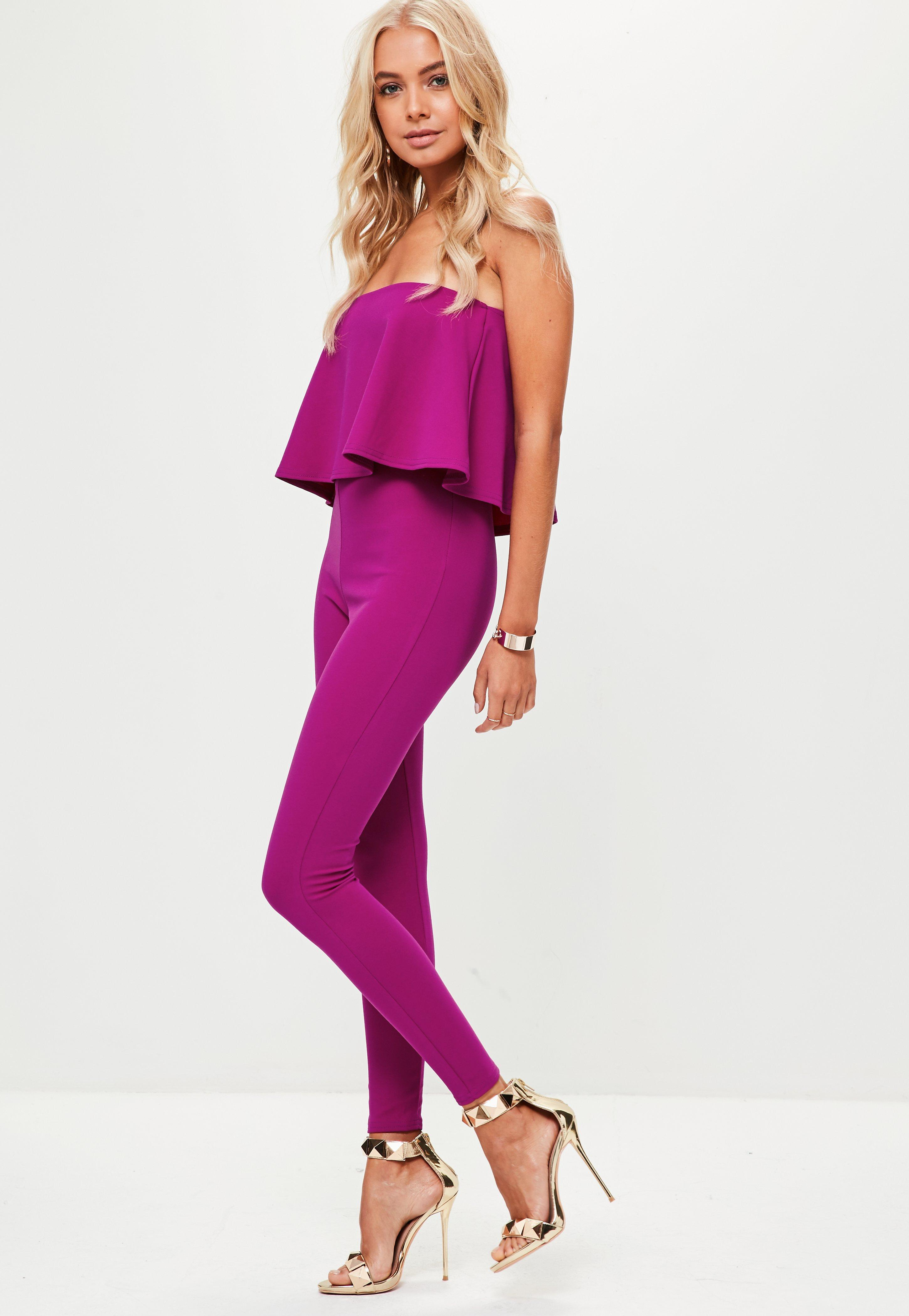 Lyst - Missguided Purple Bandeau Unitard Jumpsuit in Purple
