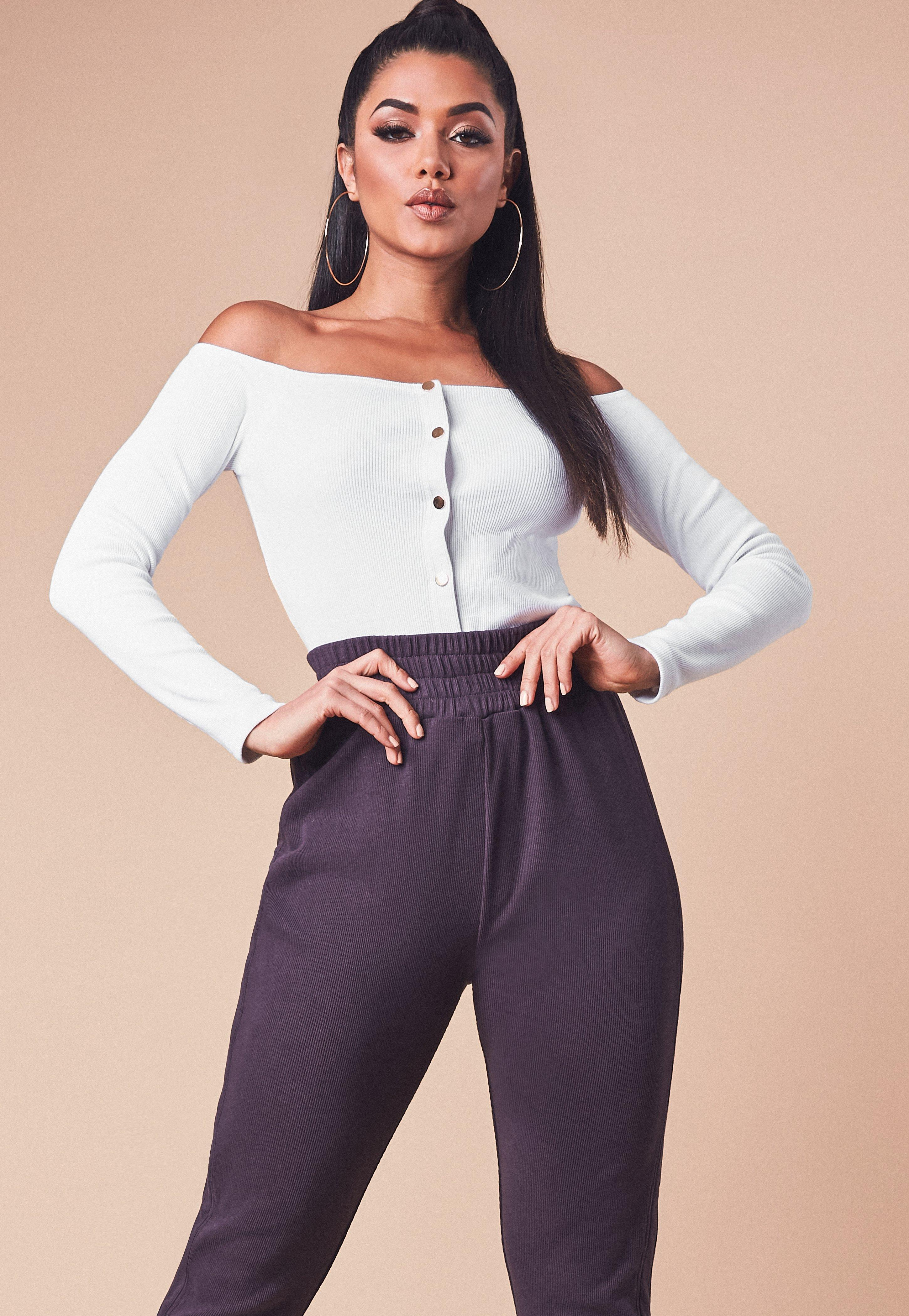 4e9680db45d2a8 Missguided White Ribbed Long Sleeve Bardot Popper Crop Top in White ...