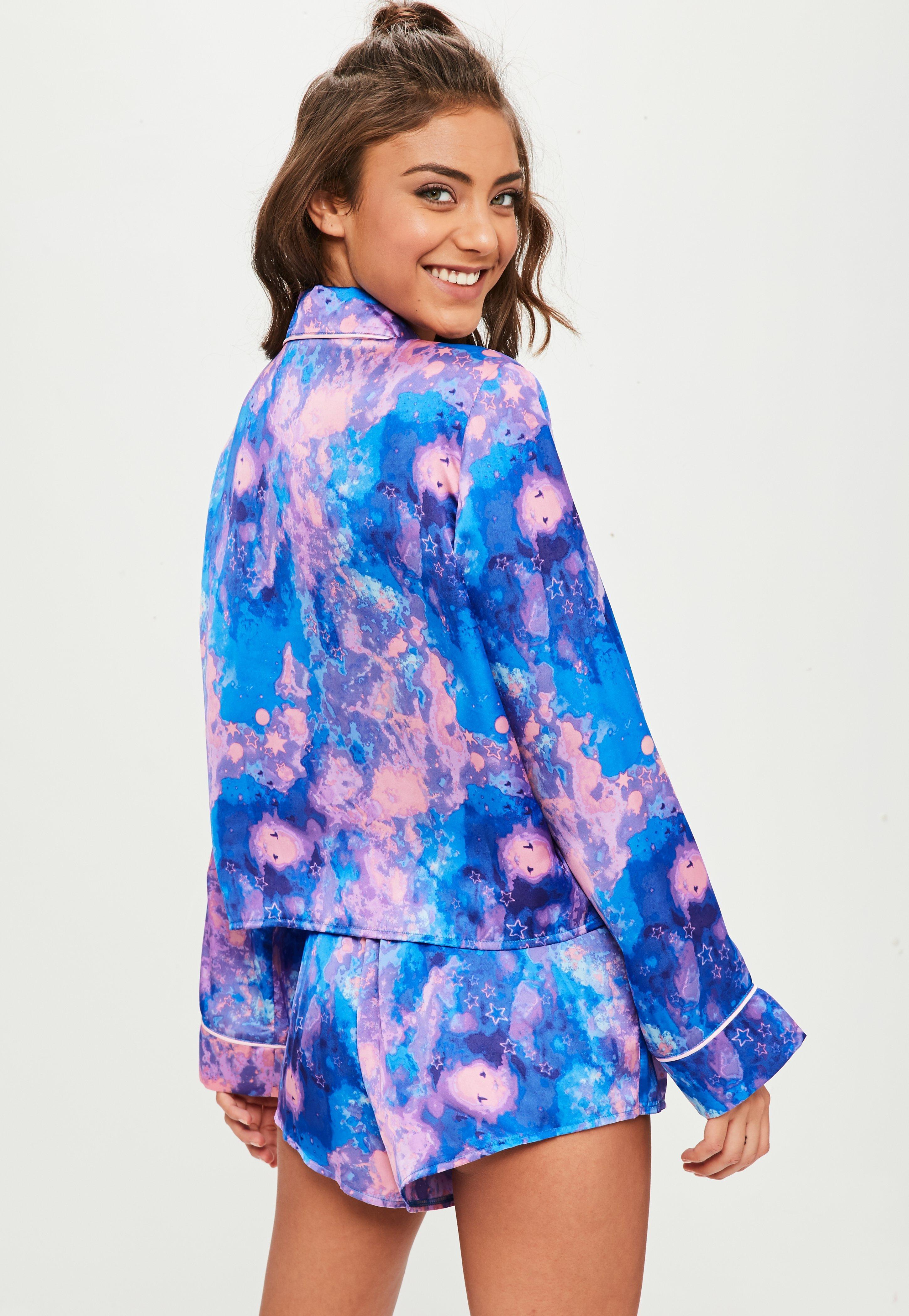 2ac103684f29 Lyst - Missguided Blue Satin Galaxy Pajamas Set in Blue