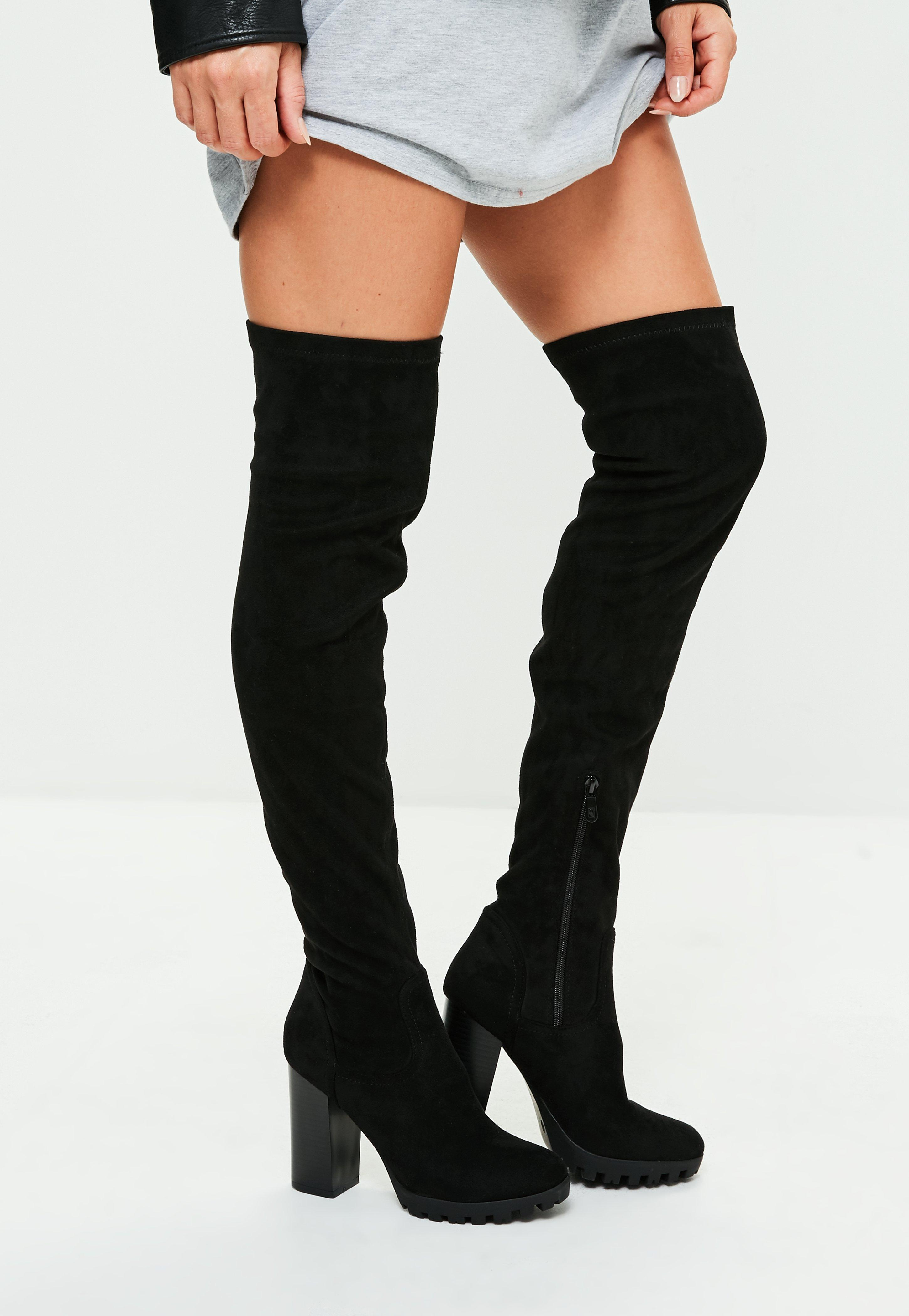 6d1707489c Missguided Black Faux Suede Cleated Sole Over The Knee Boots in ...
