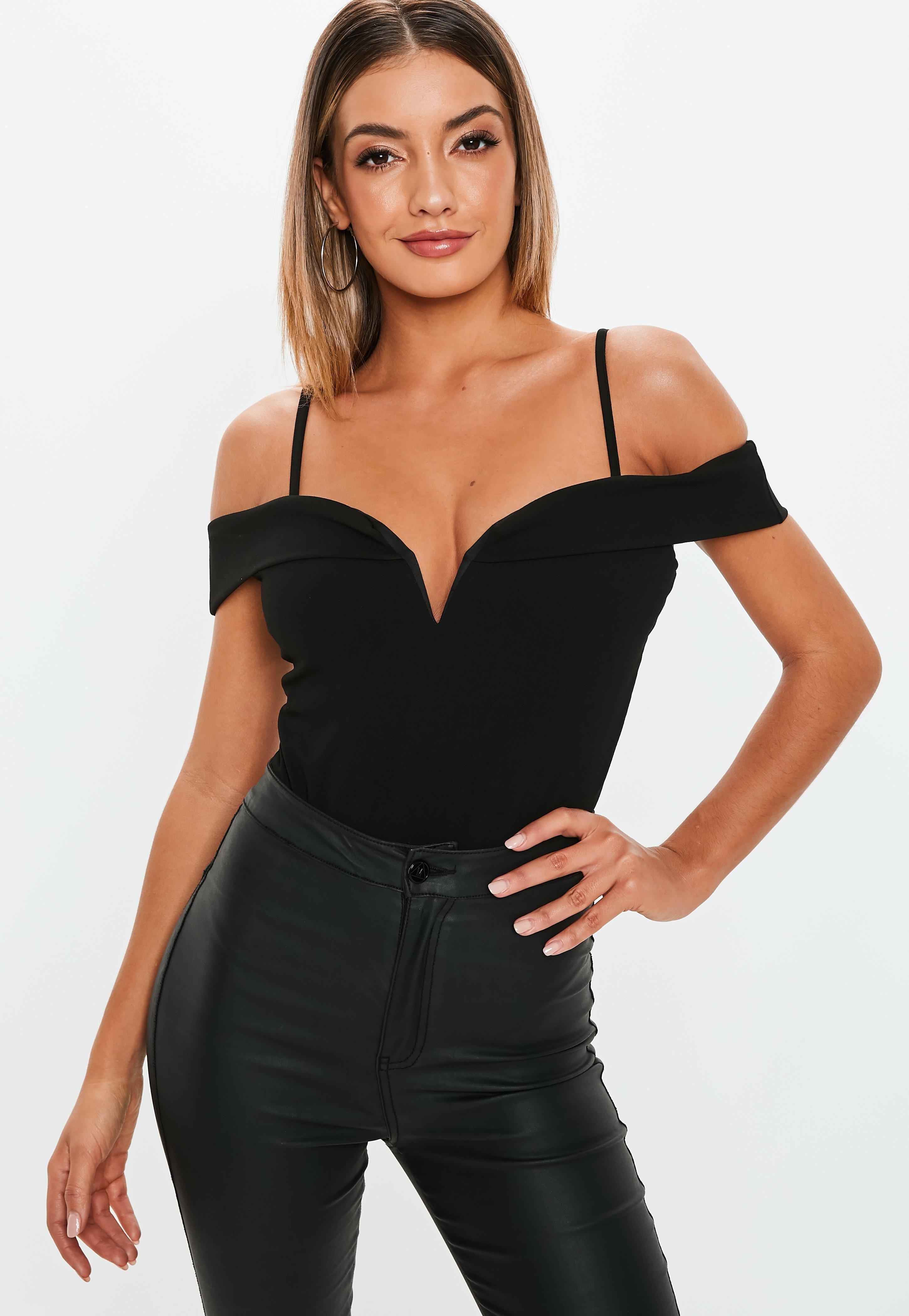 3d7a5b70a2 Missguided Black Strappy V Bar Bodysuit in Black - Lyst