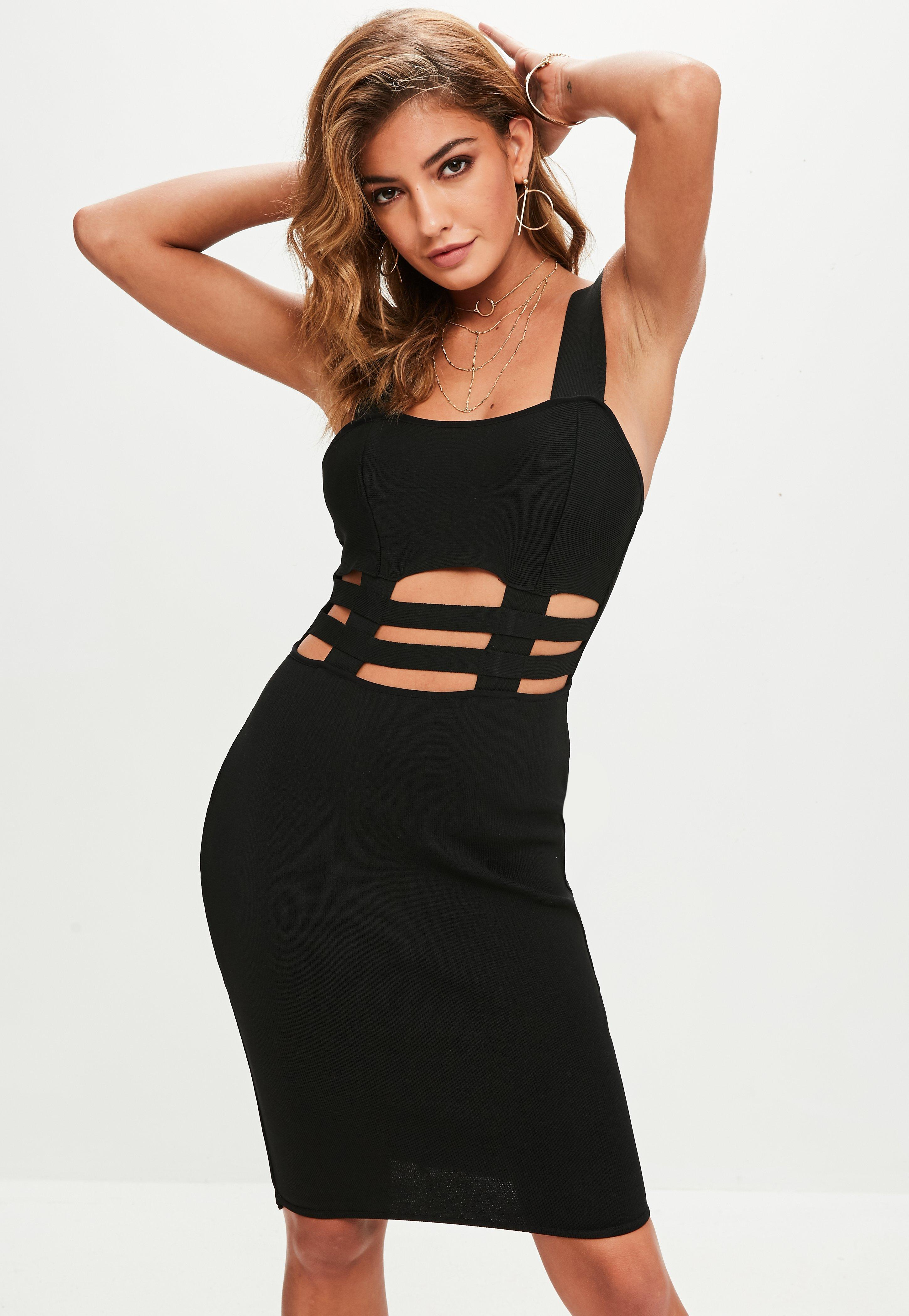 Missguided Black Vinyl Bustcup Strappy Bodycon Dress in