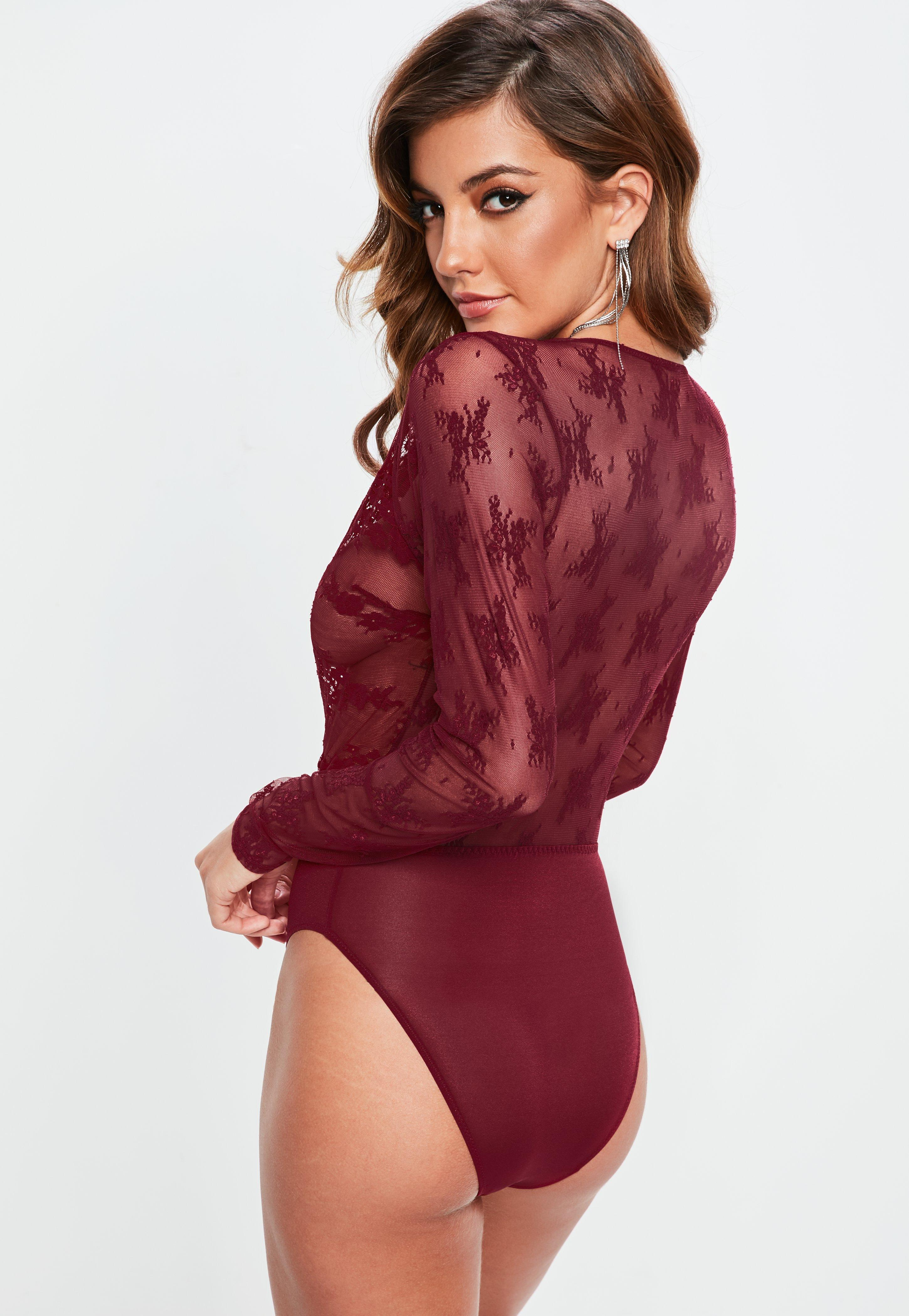 a8f4ce4059 Lyst - Missguided Burgundy Eyelash Lace Extreme Plunge Bodysuit in Red
