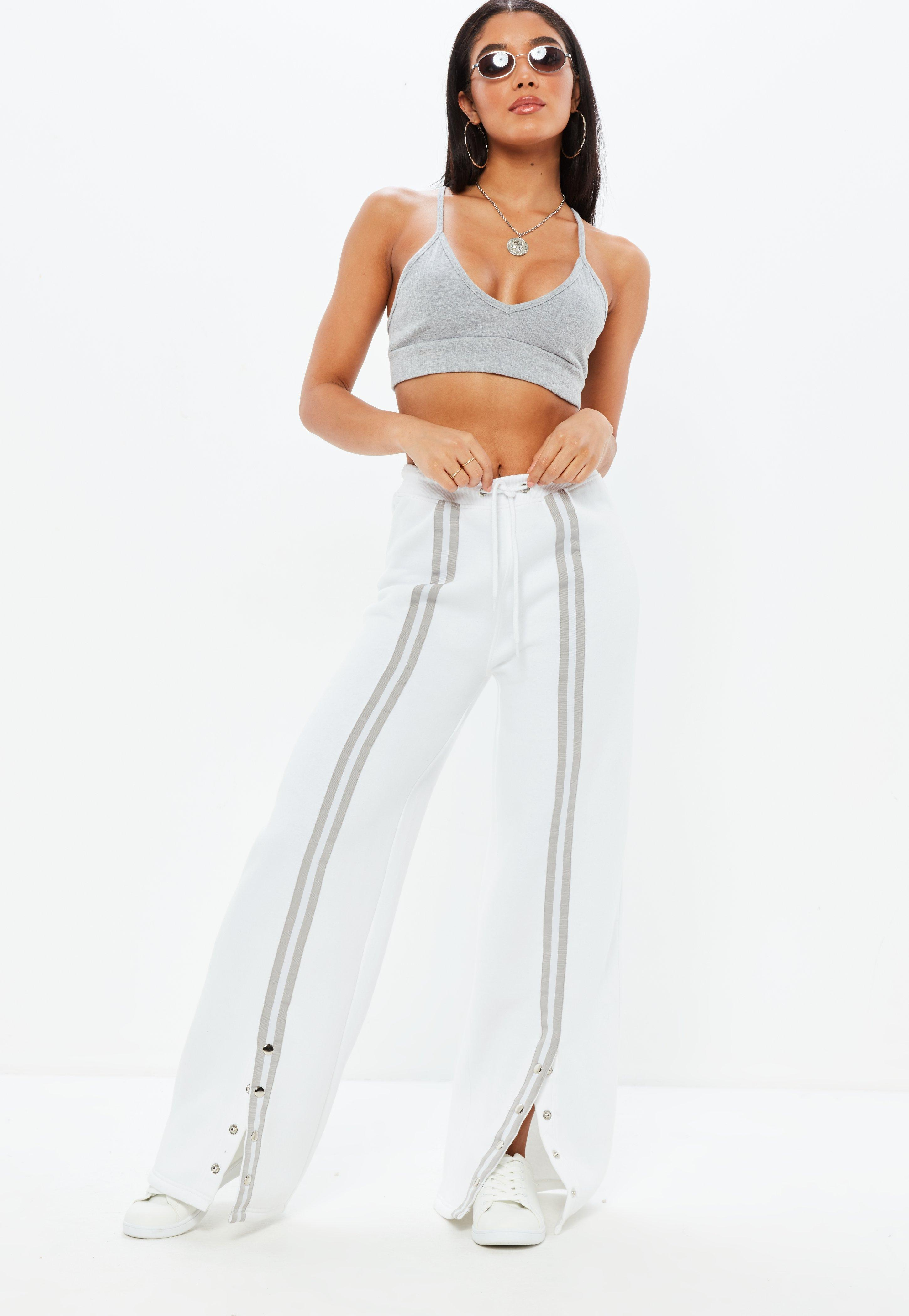 Missguided Jersey Popper Front Stripe Joggers Store For Sale Free Shipping With Mastercard For Sale Very Cheap Order Buy Cheap Supply 6BOgT