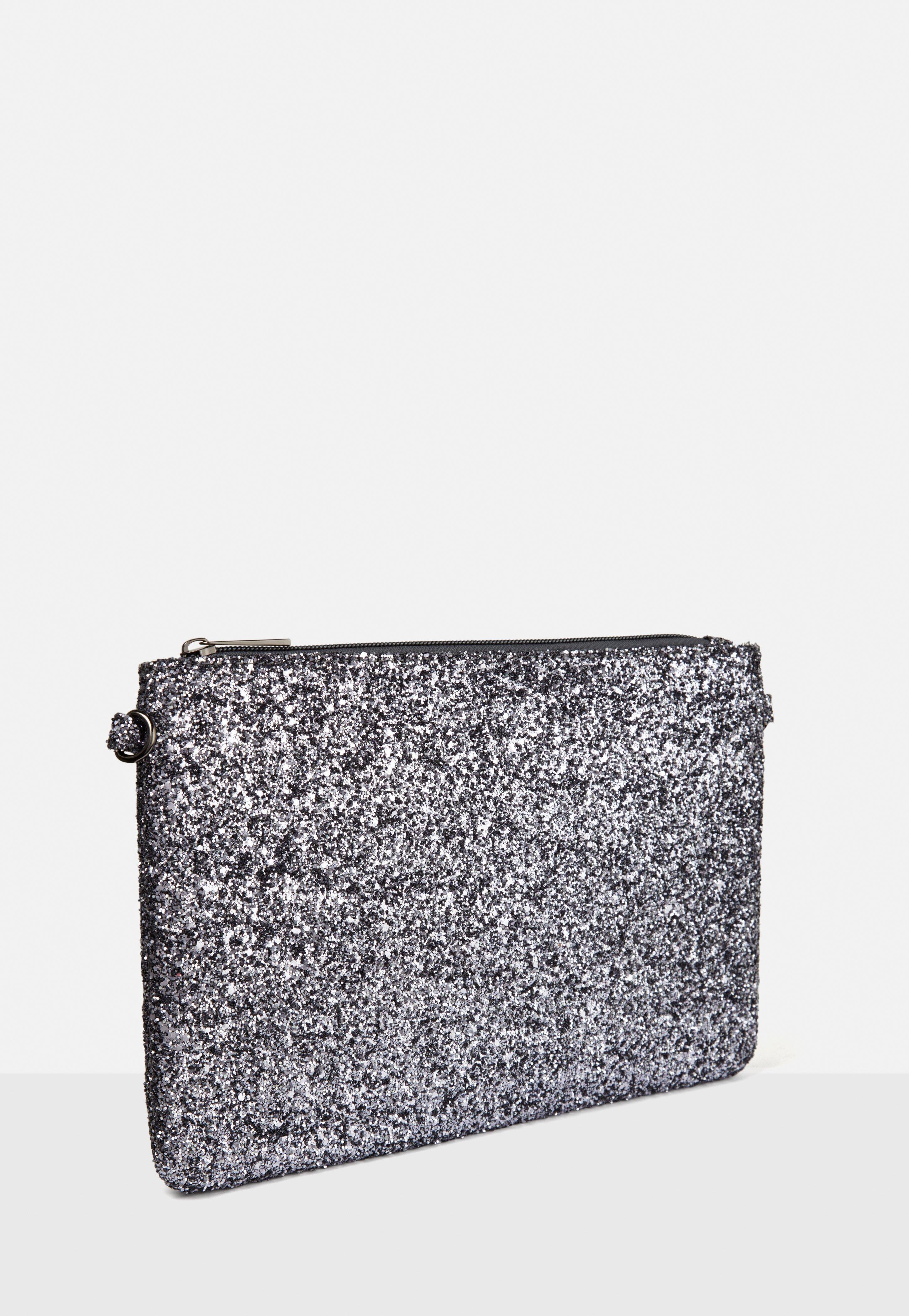 3a58cb2e59 ... Lyst - Missguided Silver Glitter Zip Top Clutch Bag in Metal on sale  4eea5 e65cd  Grey Faux Fur Roll ...