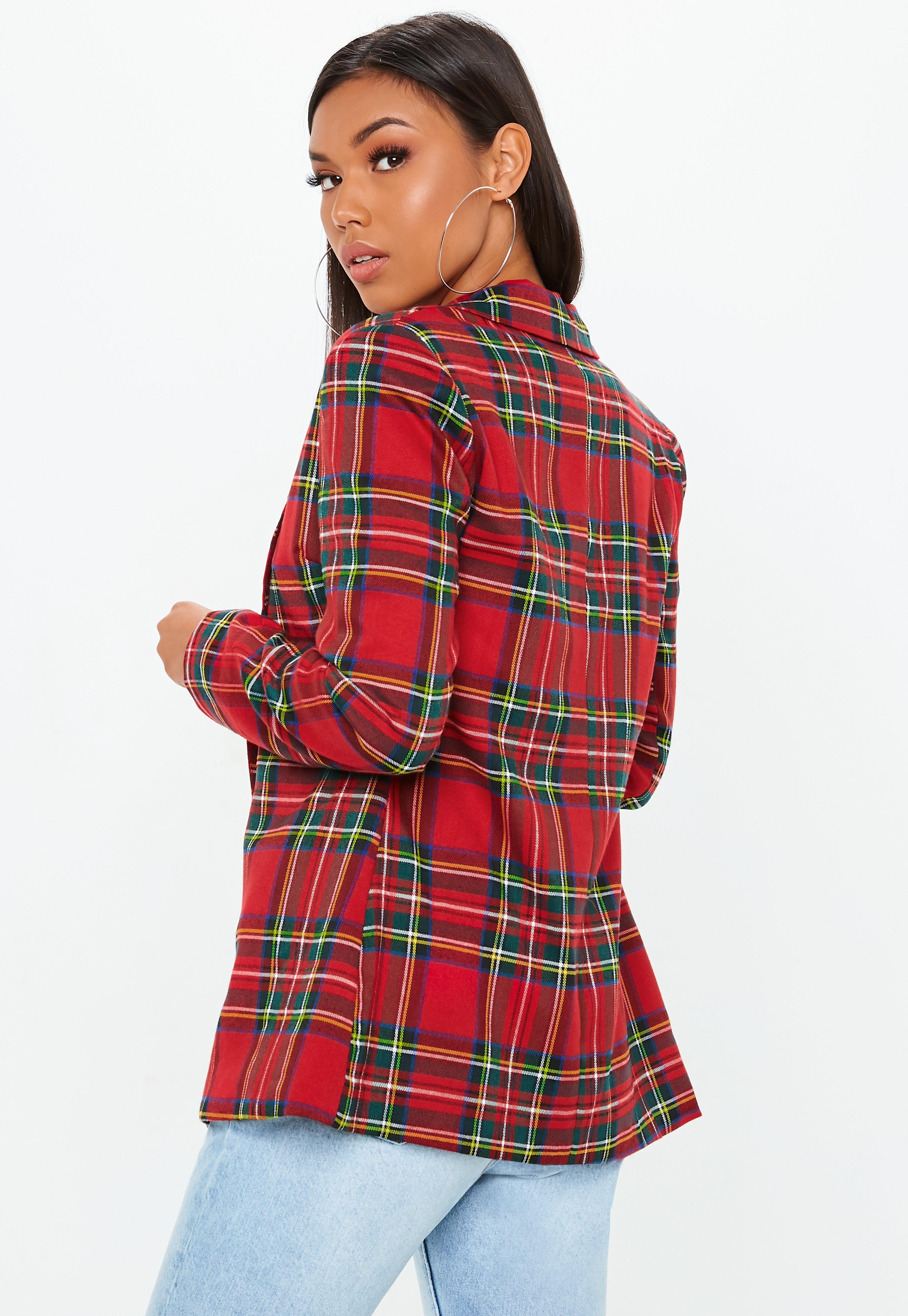 5ee2b316ea98 Lyst - Missguided Red Checked Oversized Blazer in Red