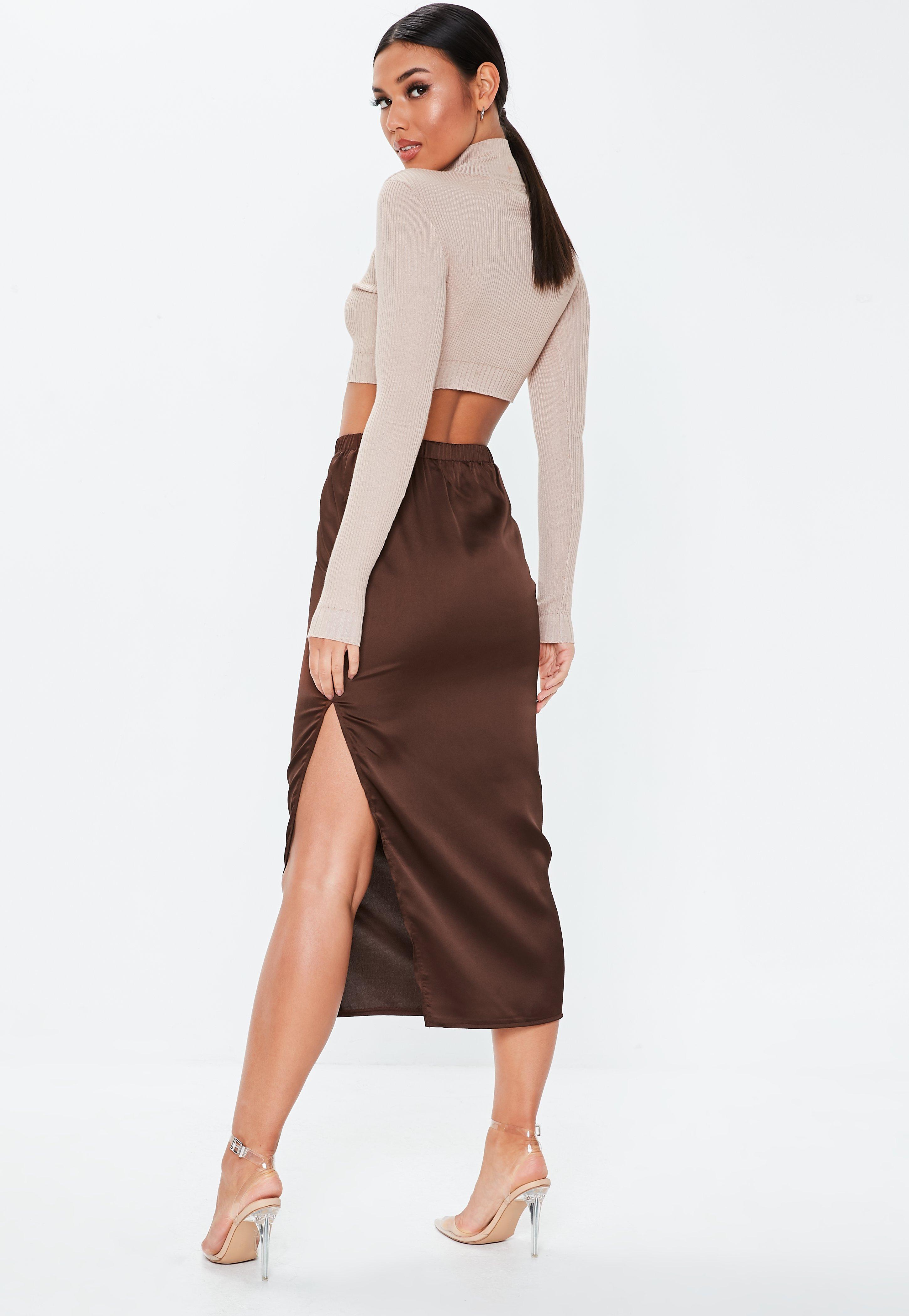 42a0cf9a561b Missguided - Brown Chocolate Satin Slip Midi Skirt - Lyst. View fullscreen