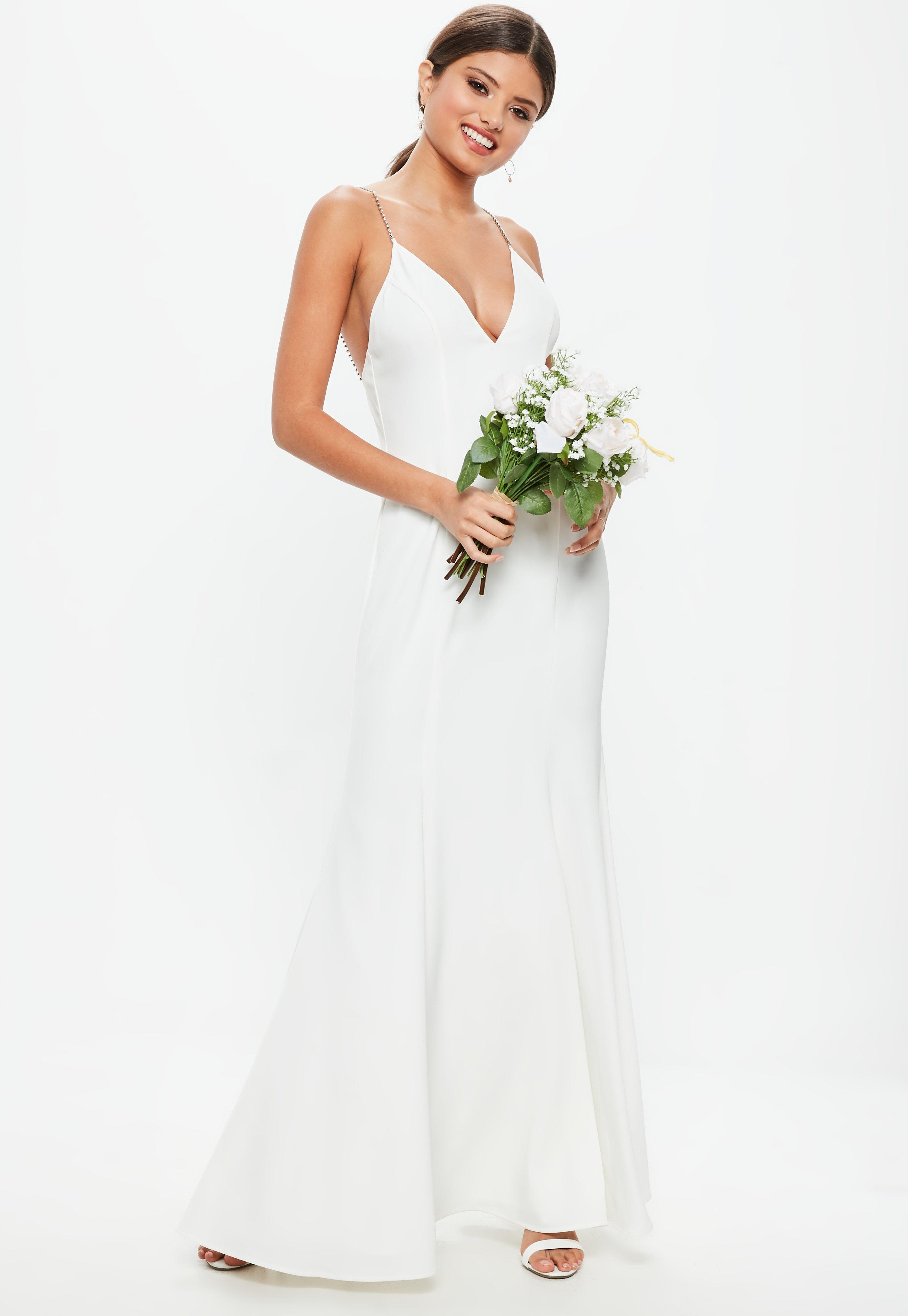 Lyst - Missguided Bridal White Diamante Strap Maxi Dress in White