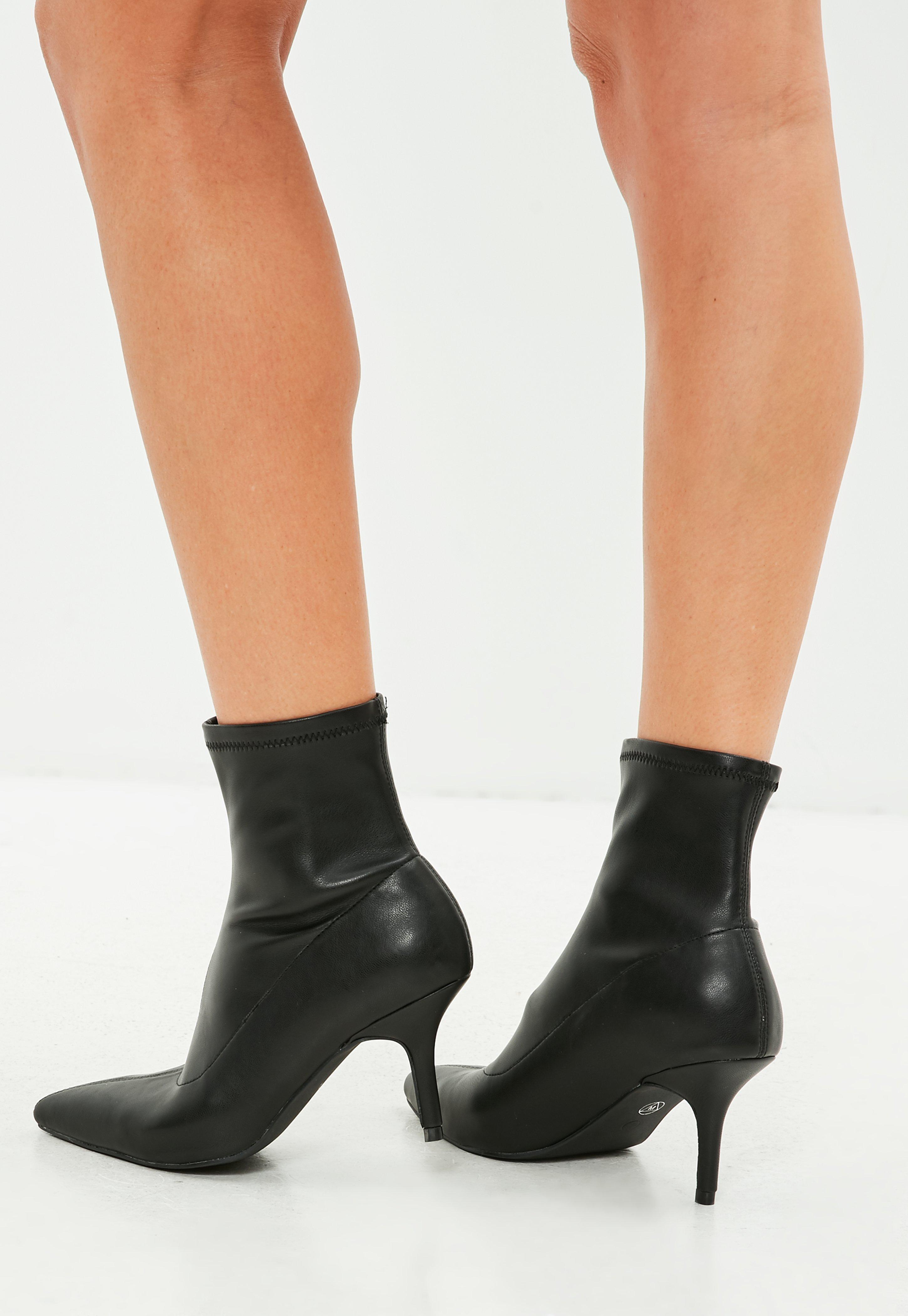 3b54651e9352 Lyst - Missguided Black Kitten Heel Ankle Boot in Black