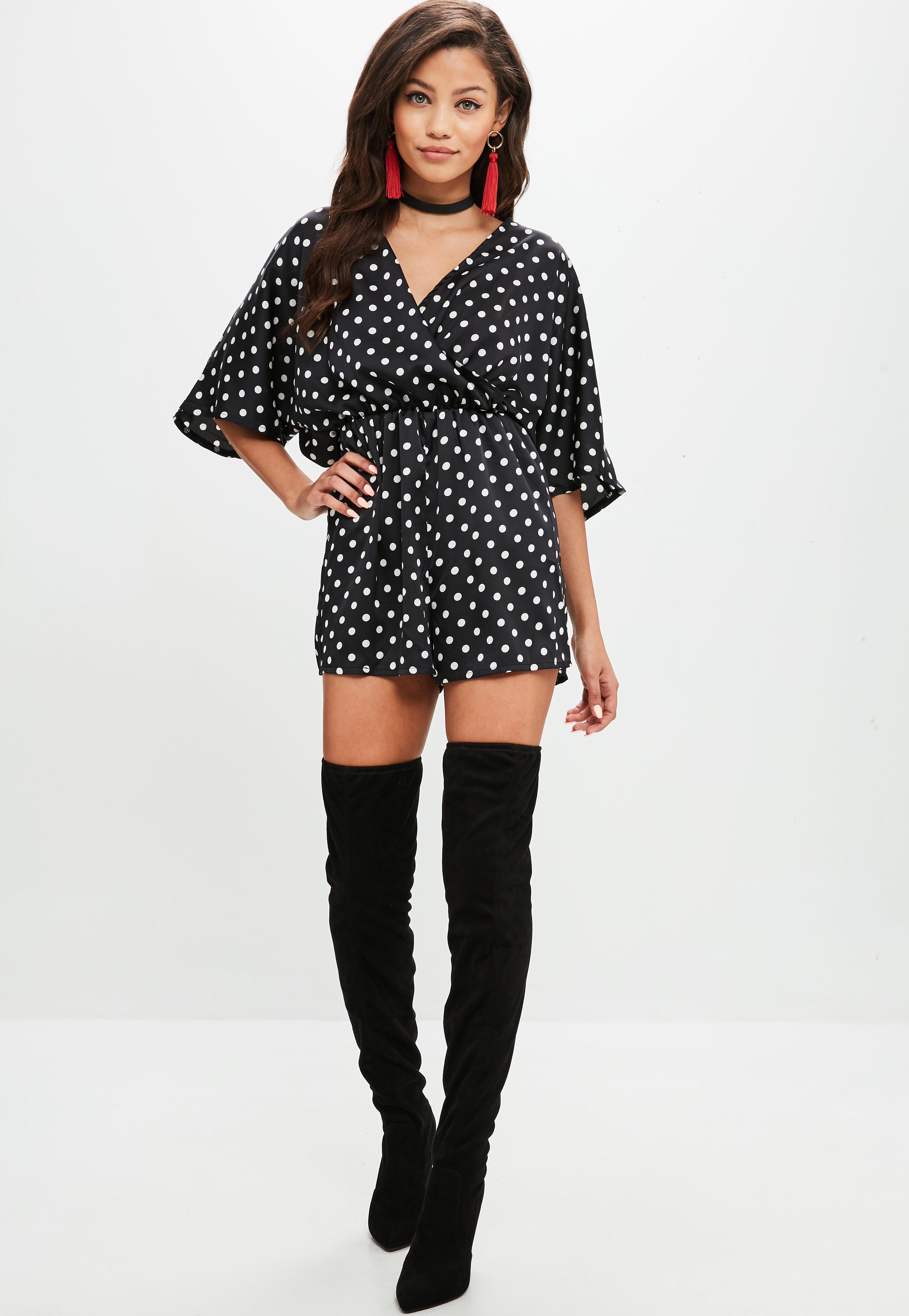 612dcc6ae1f Lyst - Missguided Black Polka Dot Kimono Sleeve Playsuit in Black