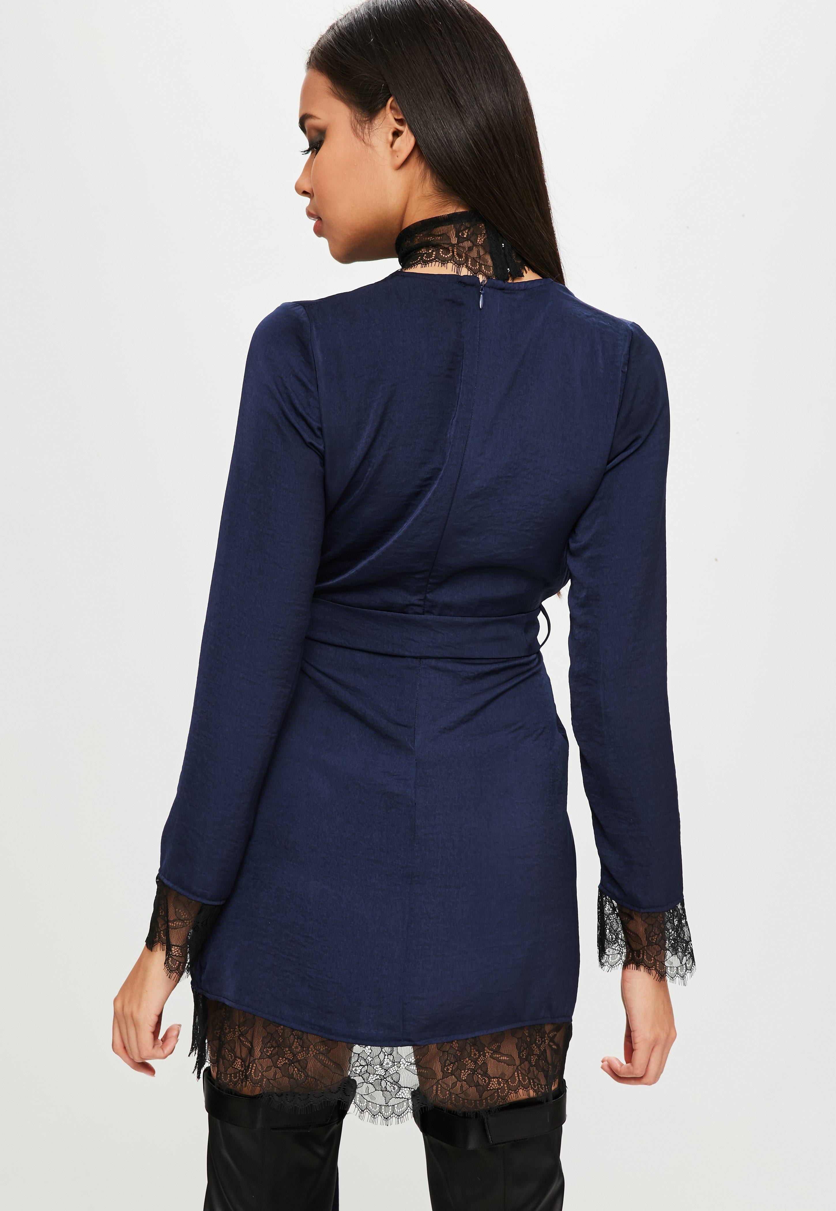 290e379b15 Lyst - Missguided Carli Bybel X Navy Satin Lace Wrap Dress in Blue