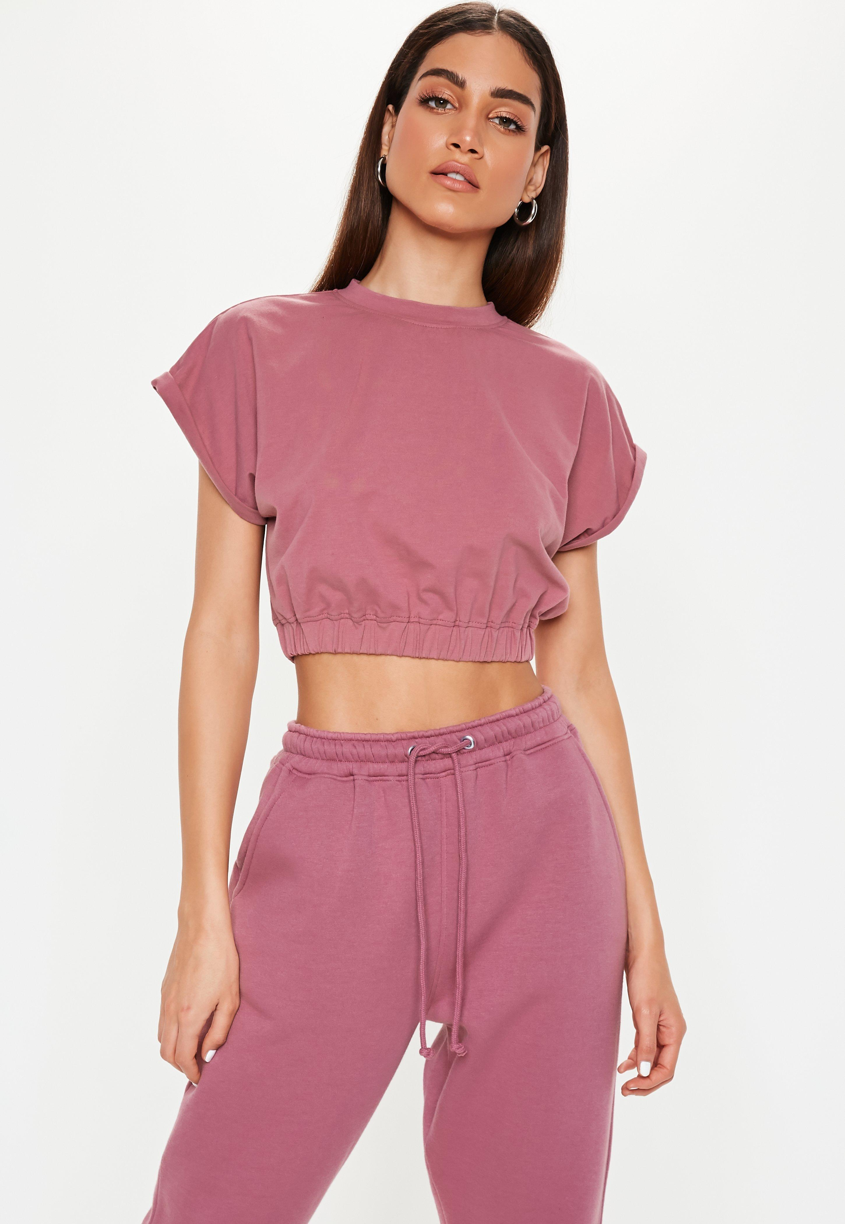 144c79e67530b6 Missguided Mauve Gathered Waist Crop Top in Purple - Lyst
