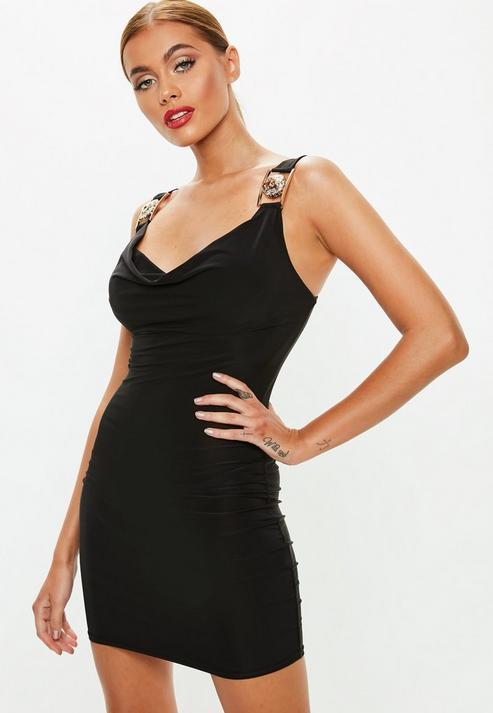 f62b61ba12 Missguided Petite Black Cowl Neck Mini Dress in Black - Lyst