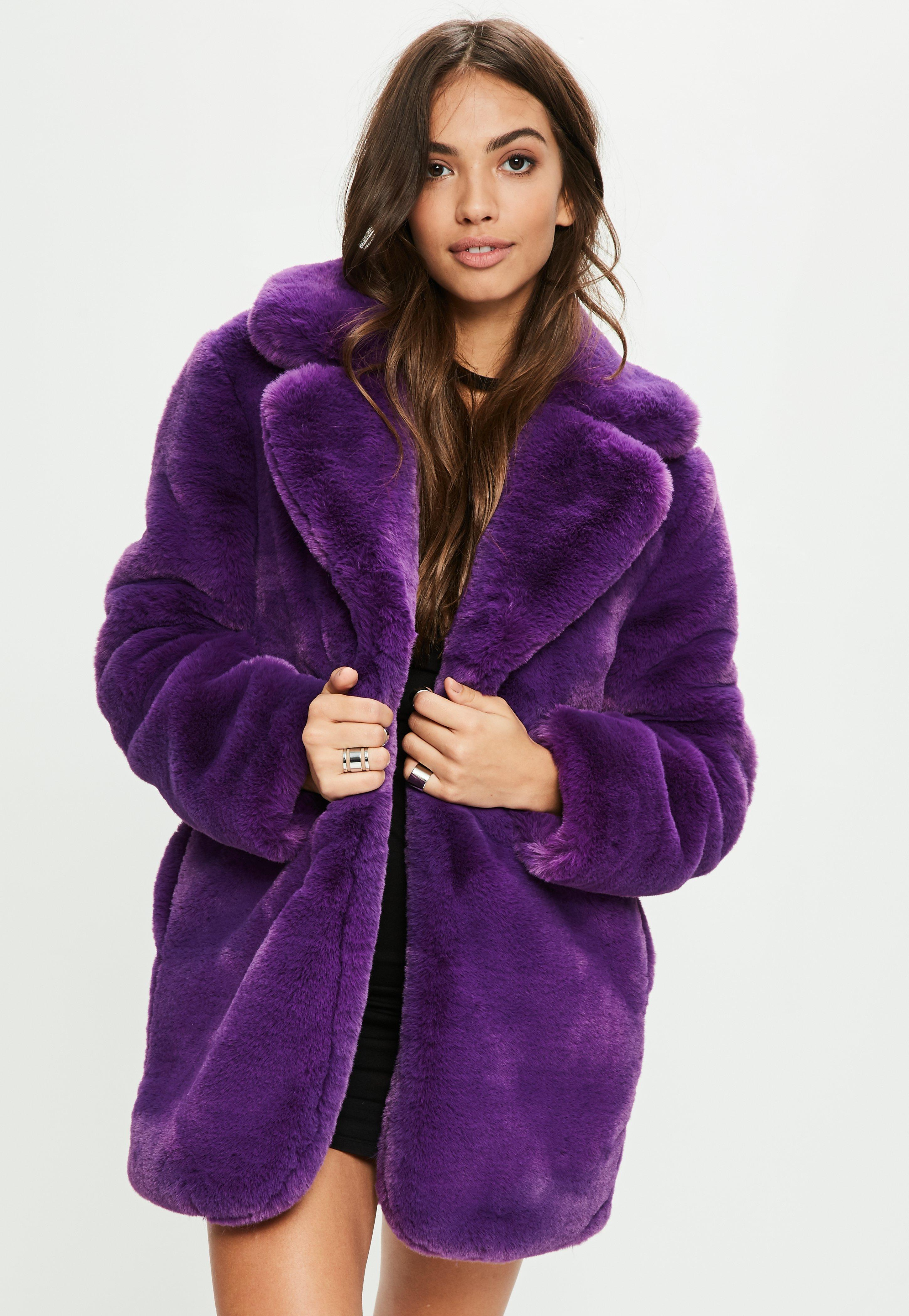 Lyst Missguided Purple Faux Fur Coat With Collar In Purple