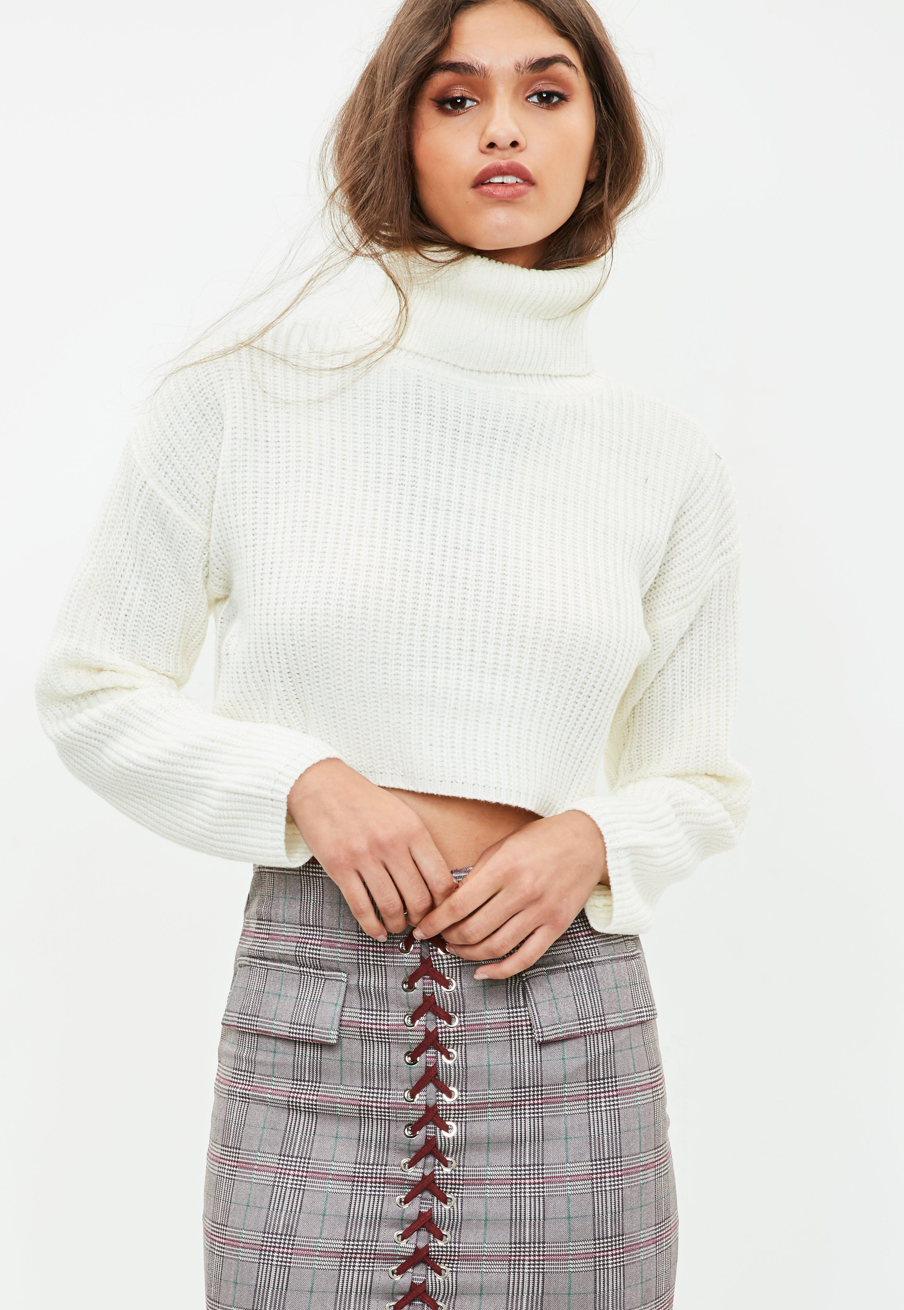 Neck In Sweater Missguided Roll Crop White Lyst qwzRYtY 1900f2997a6