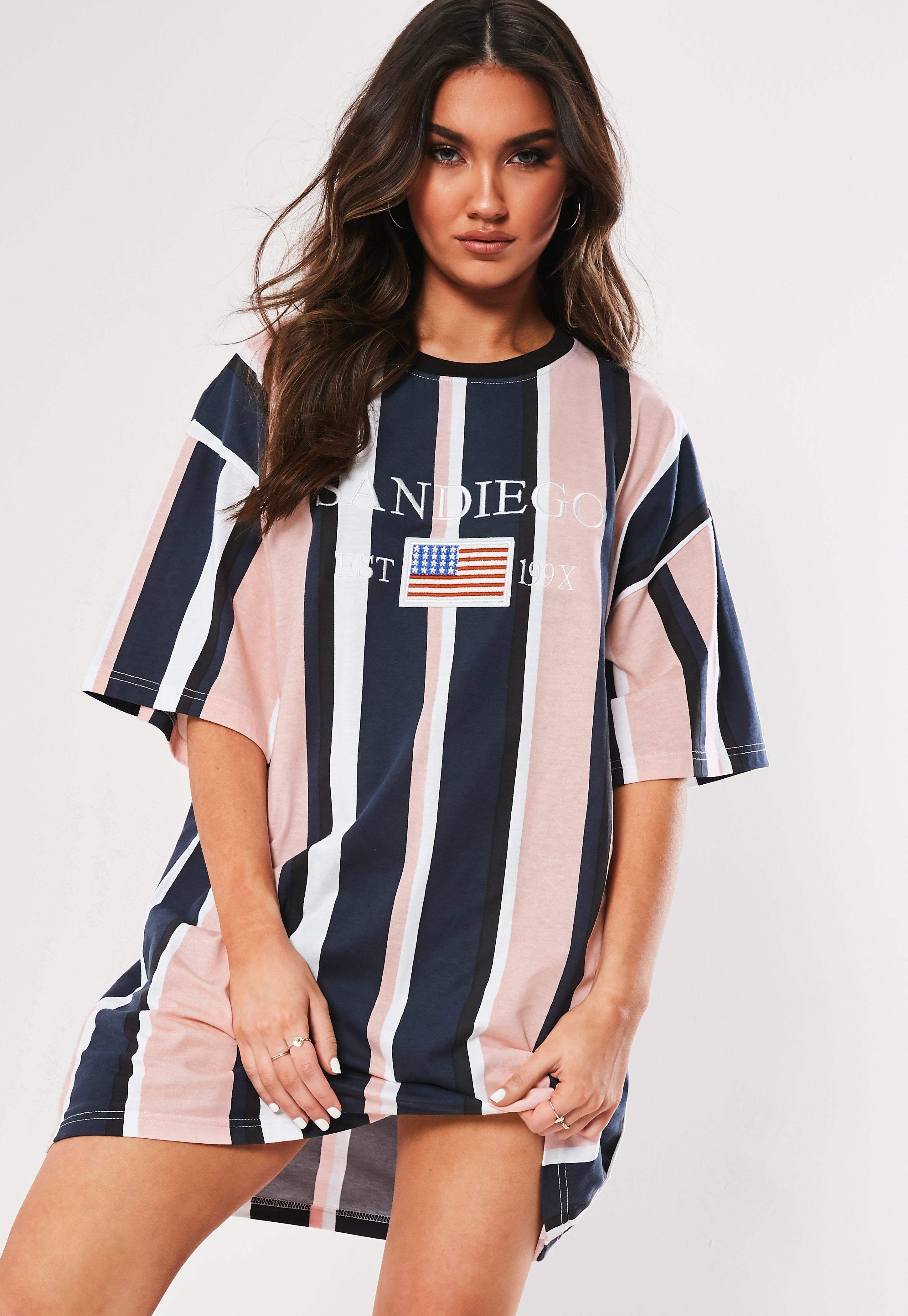 820c97e7 Missguided - Pink Striped Oversized T Shirt Dress - Lyst. View fullscreen