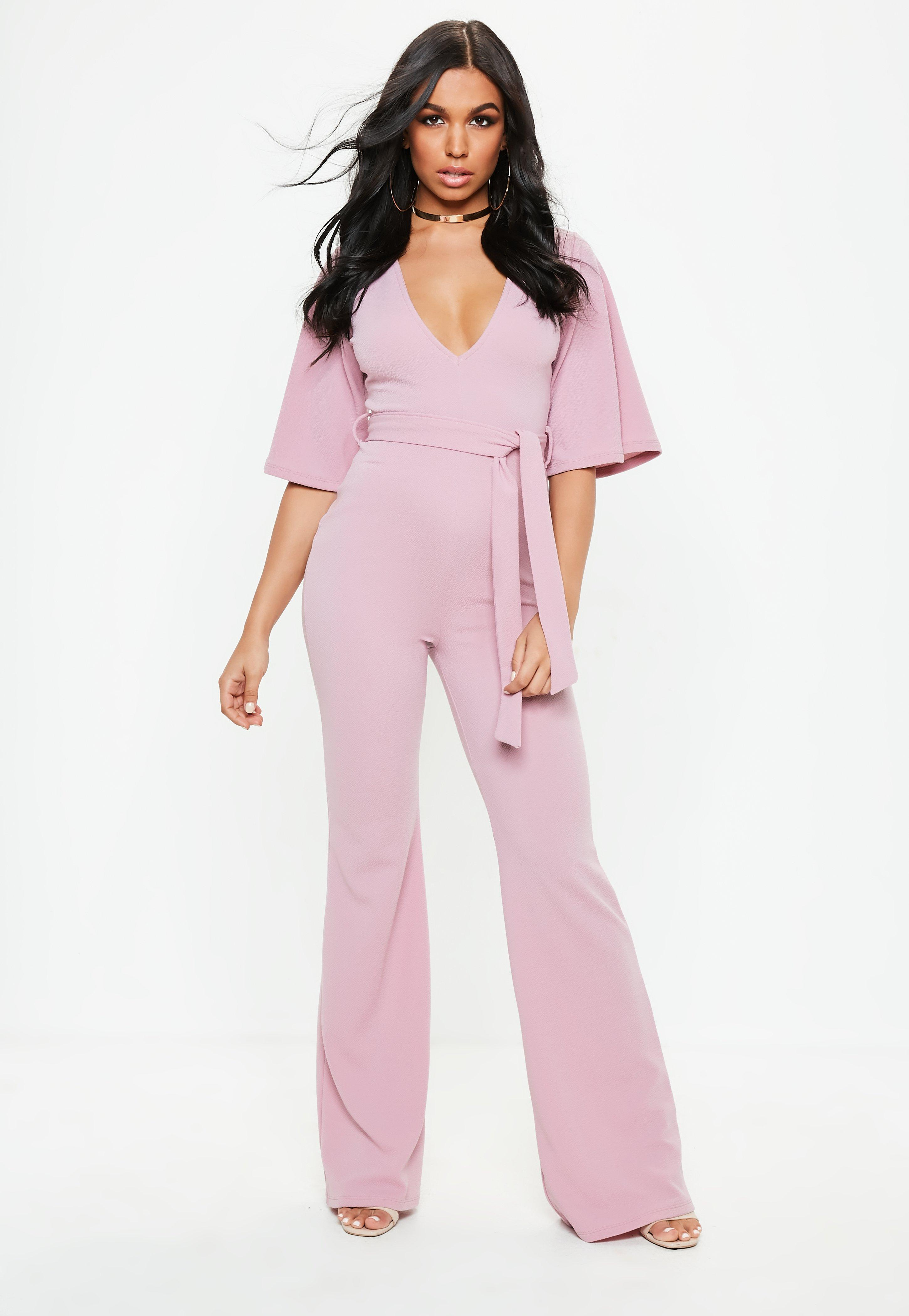 269791a4154 Lyst - Missguided Lilac Plunge Kimono Sleeve Jumpsuit in Purple