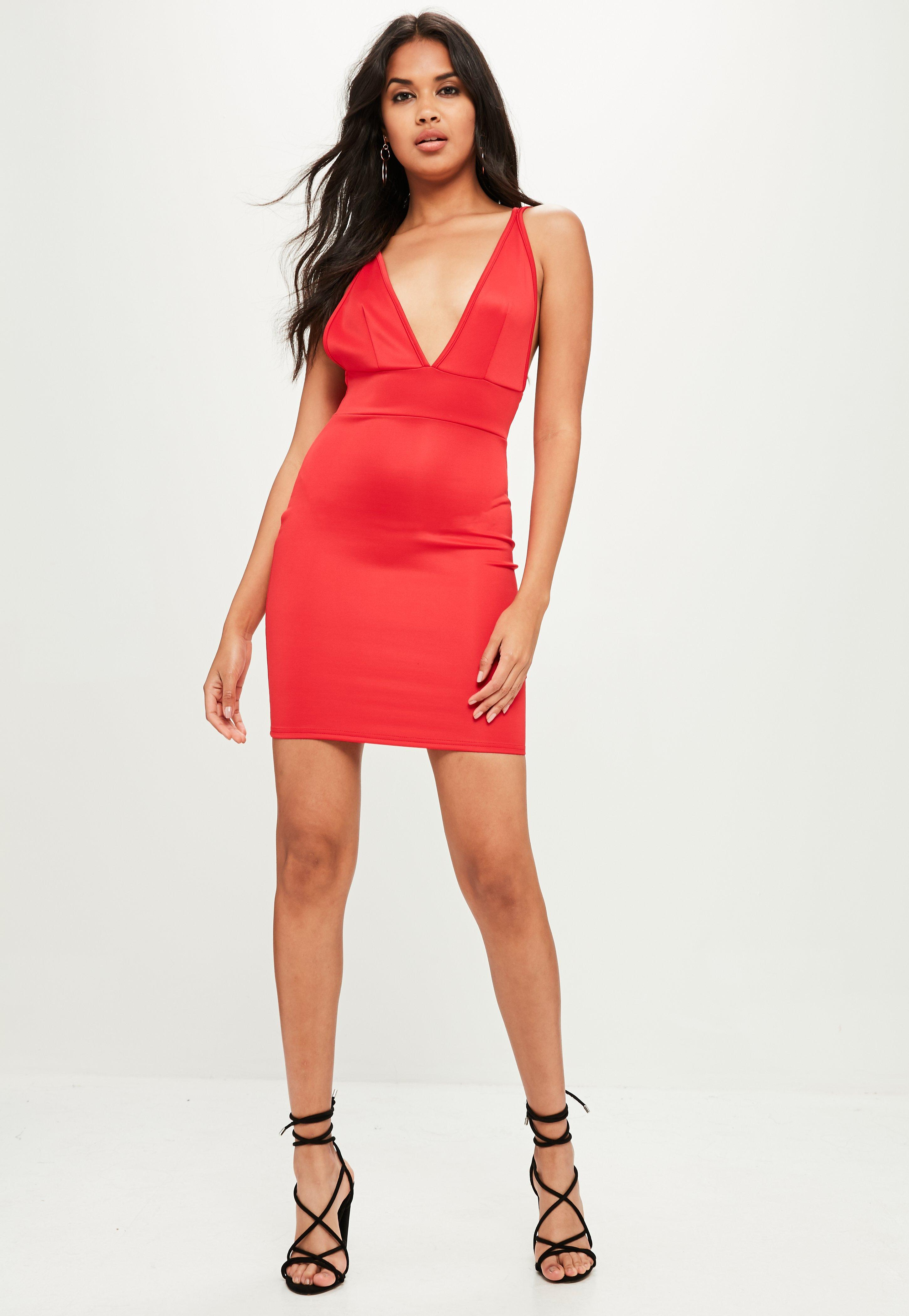 Lyst - Missguided Red Scuba Plunge Dress in Red 55460abf2