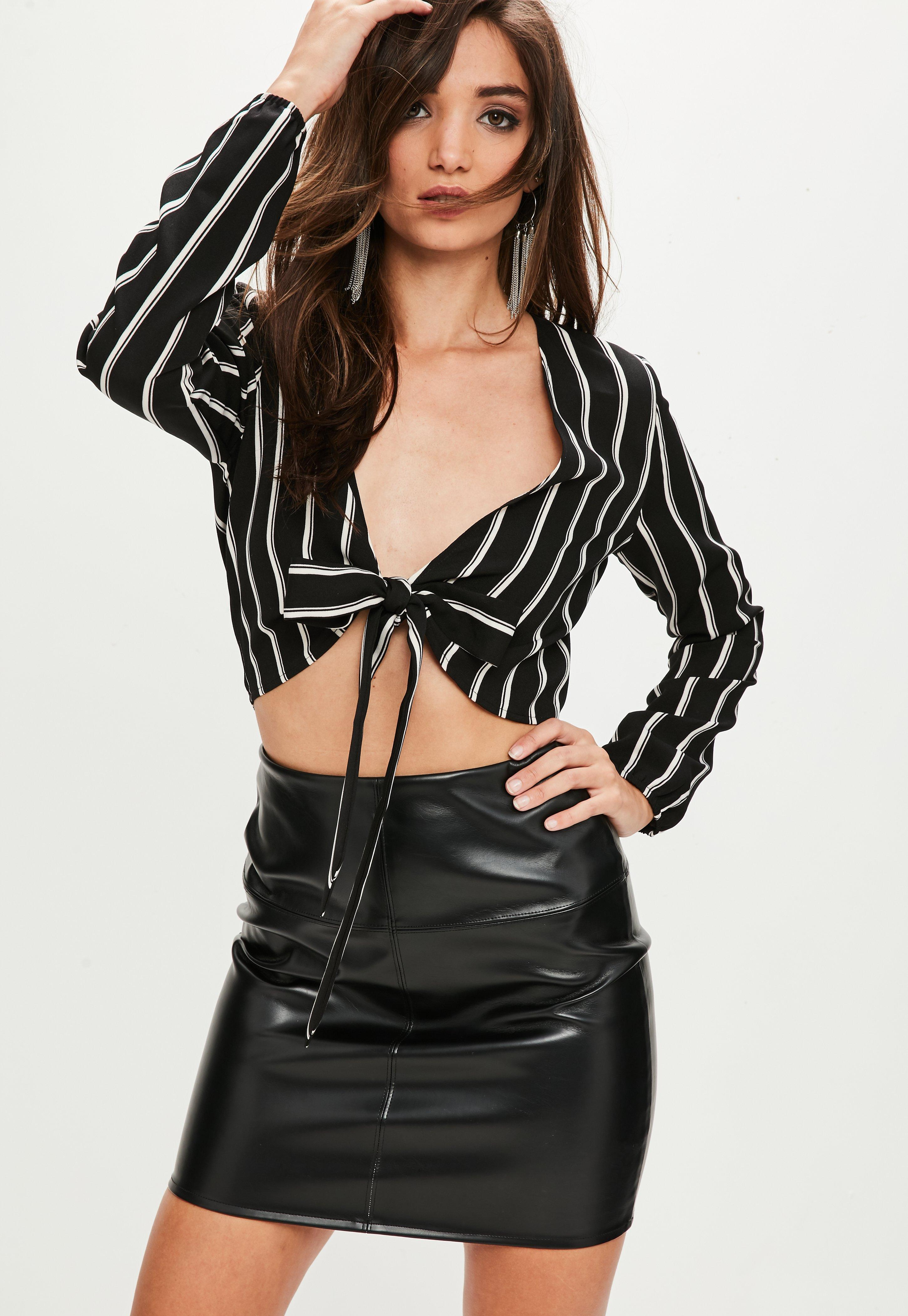 fb5243ff4f858 Missguided Black Tie Front Crop Top Stripe in Black - Lyst