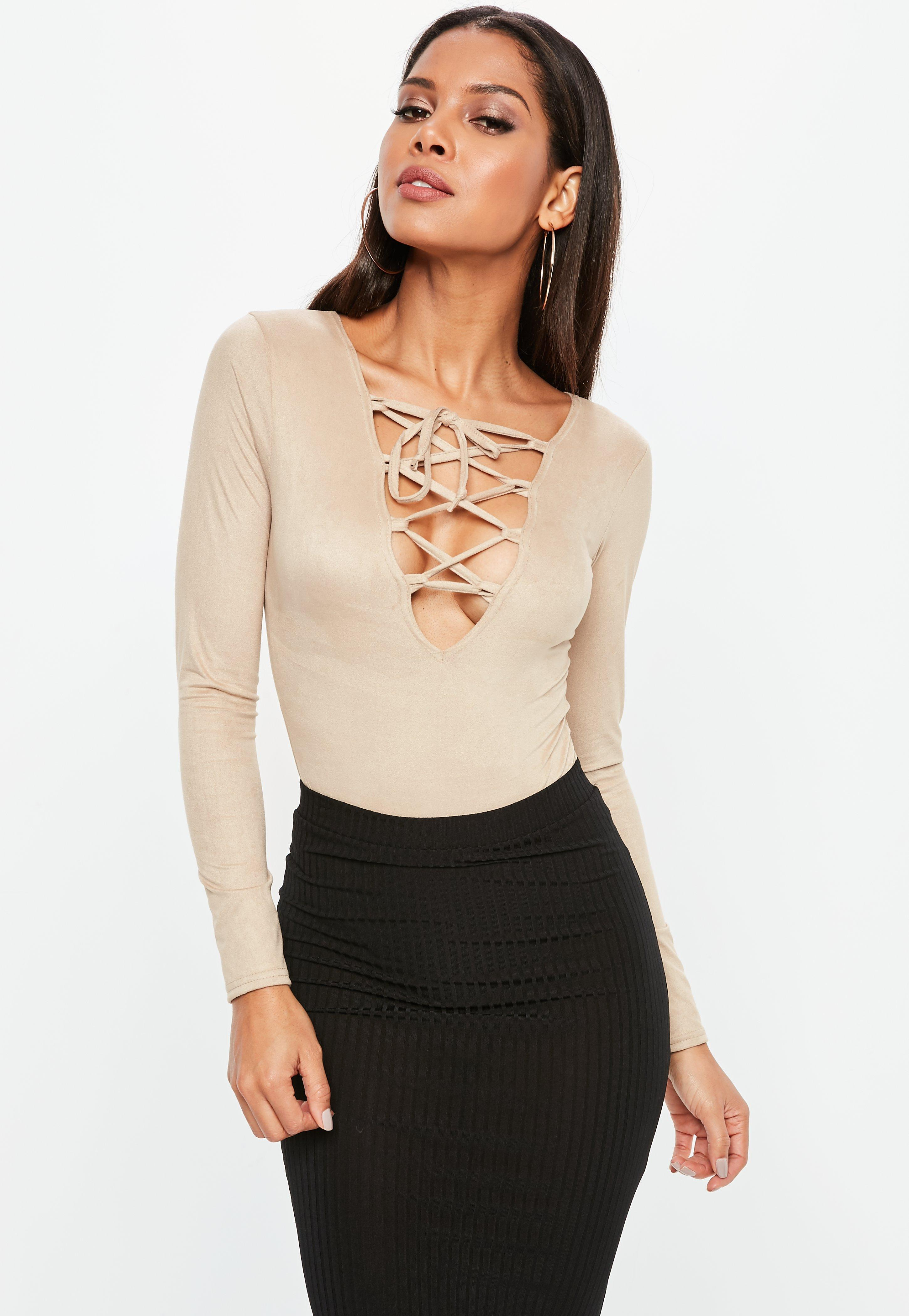 Missguided Nude Faux Suede Lace Up Long Sleeve Bodysuit in Natural ... c4180522a