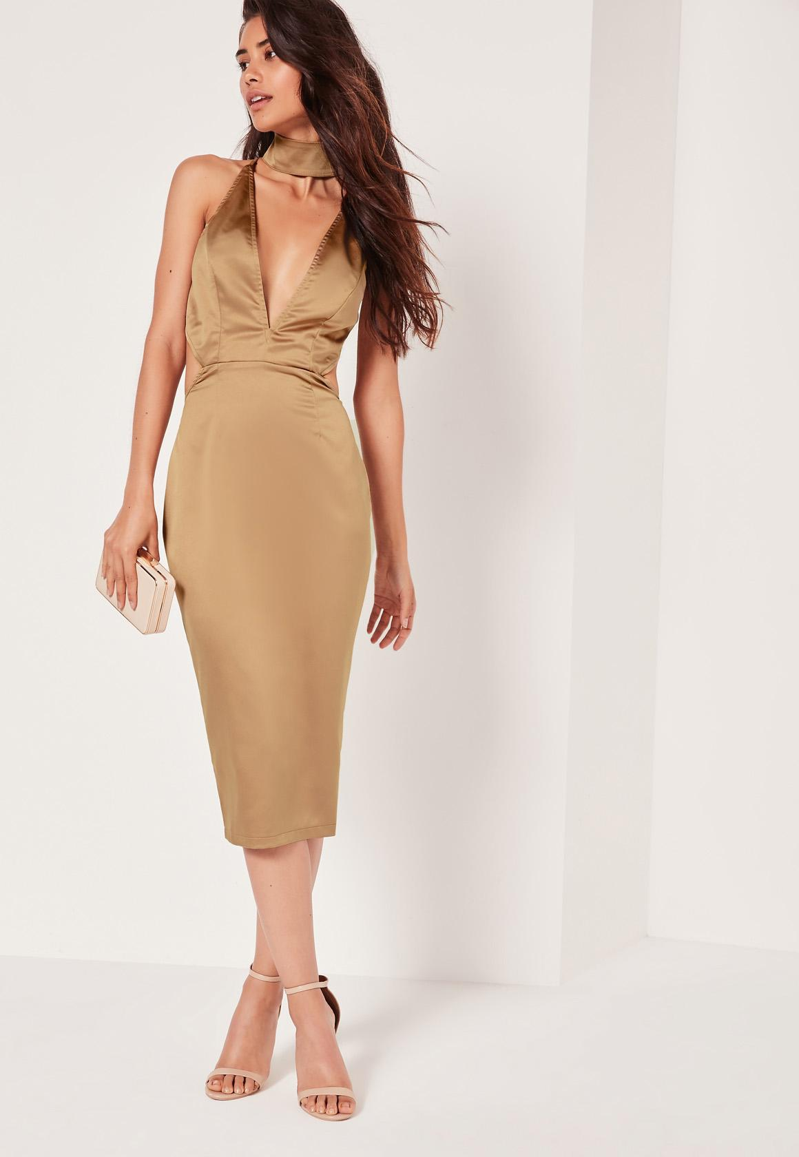 Lyst - Missguided Silky Choker Detail Cut Out Midi Dress Gold in ... f07a60d59