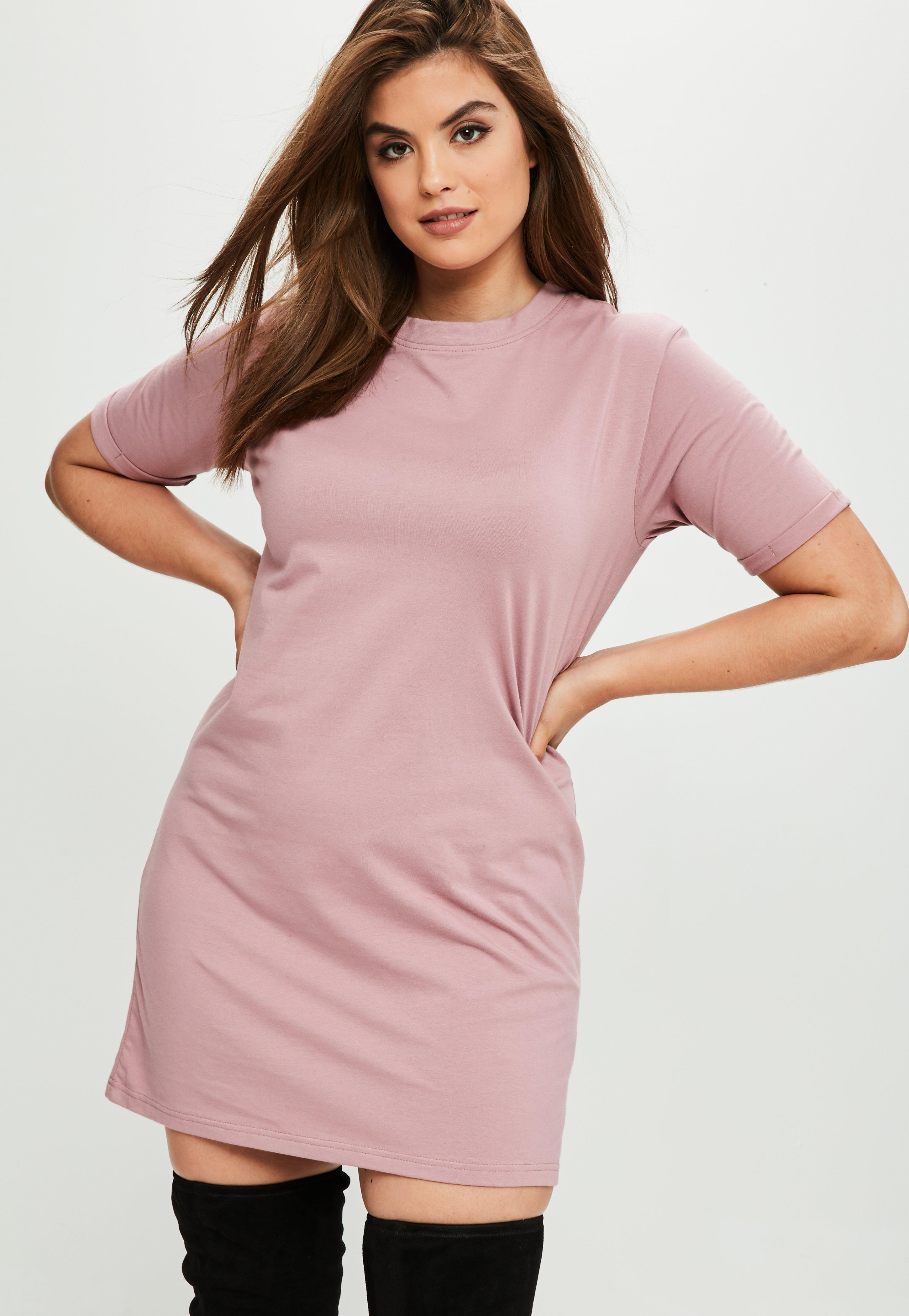 Lyst Missguided Curve Pink Boyfriend T Shirt Dress In Pink