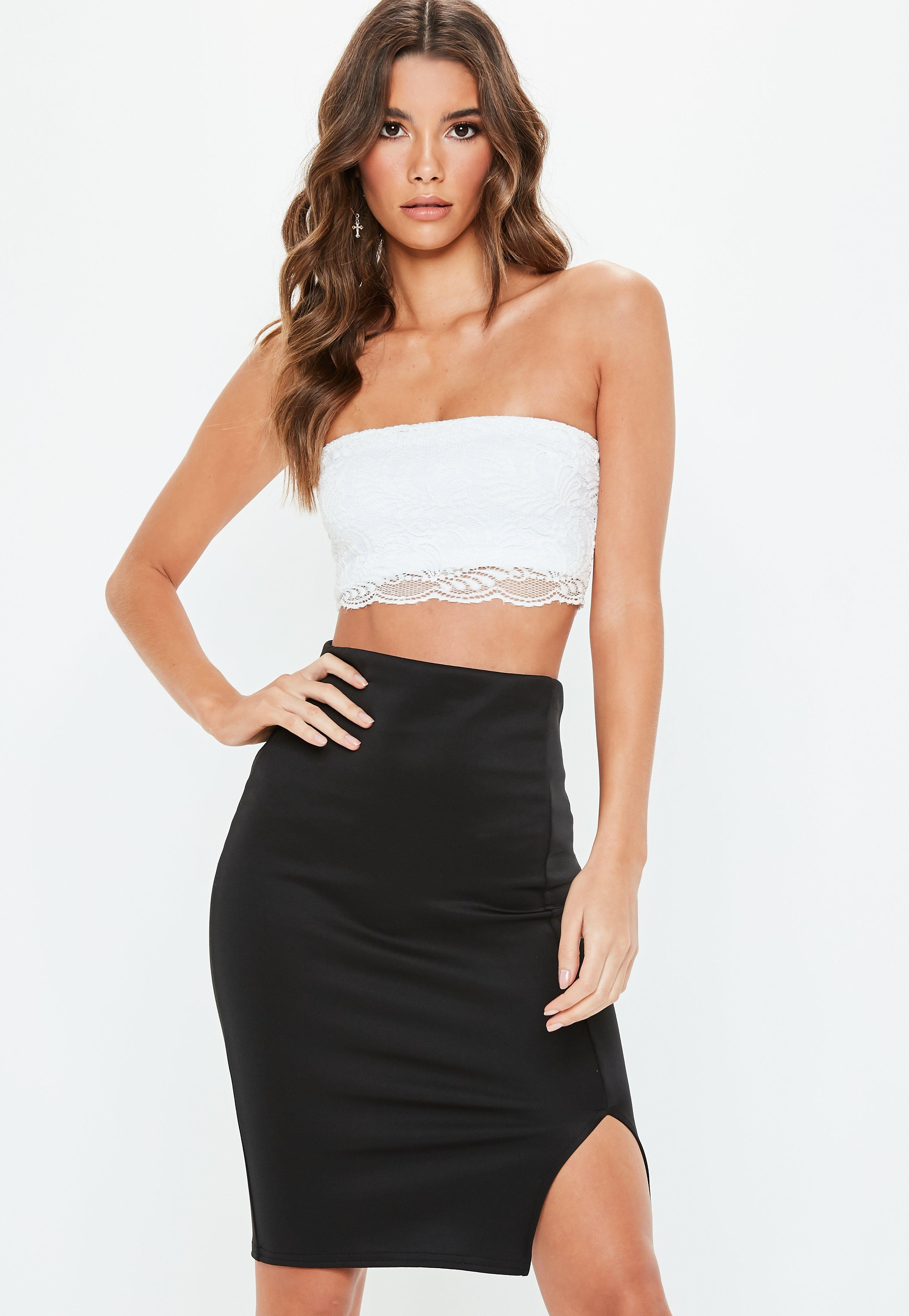 c67de8b03c7919 Lyst - Missguided White Lace Bandeau Bralet in White
