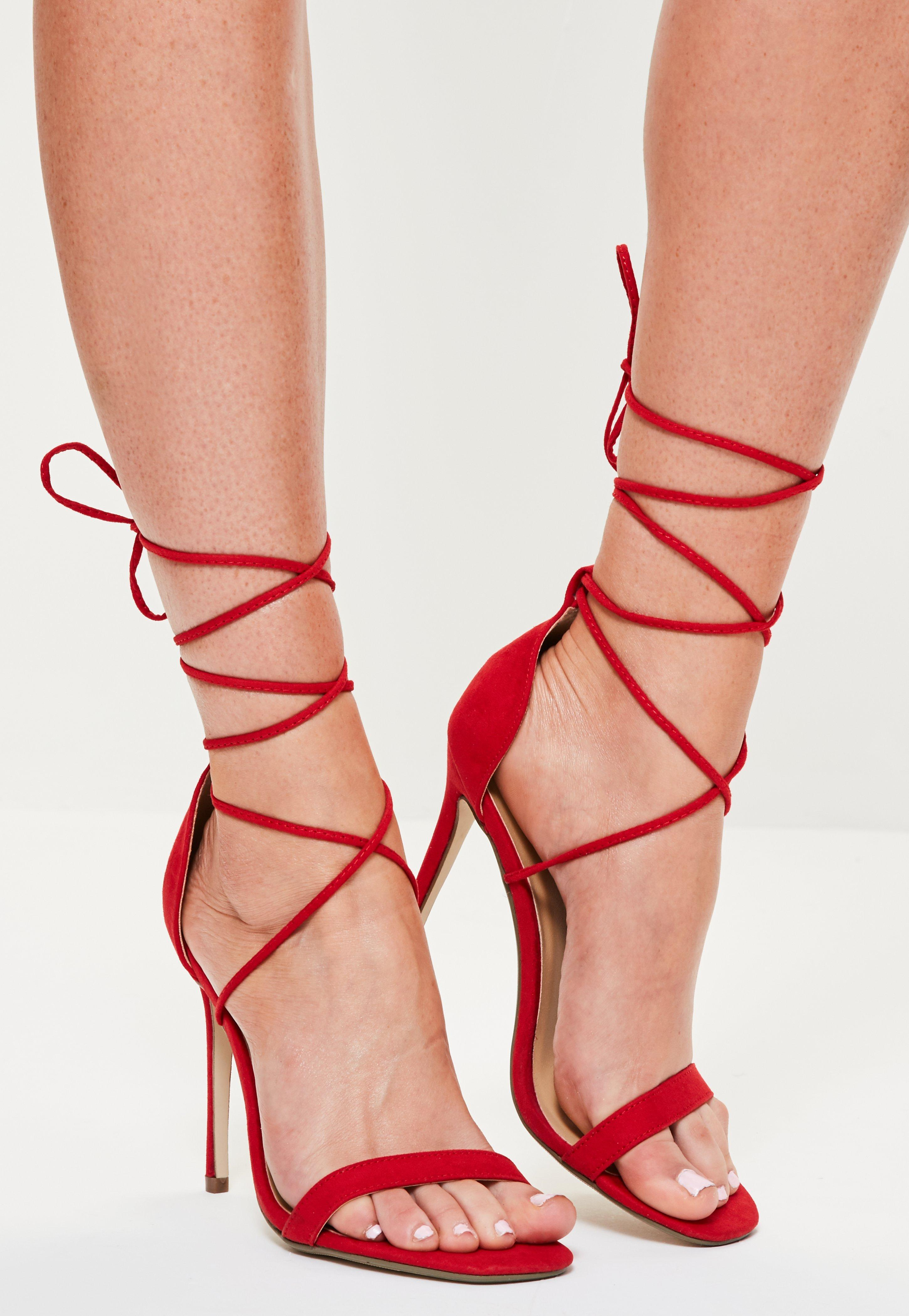 0d0df404bbe Lyst - Missguided Lace Up Barely There Heeled Sandals Red in Red