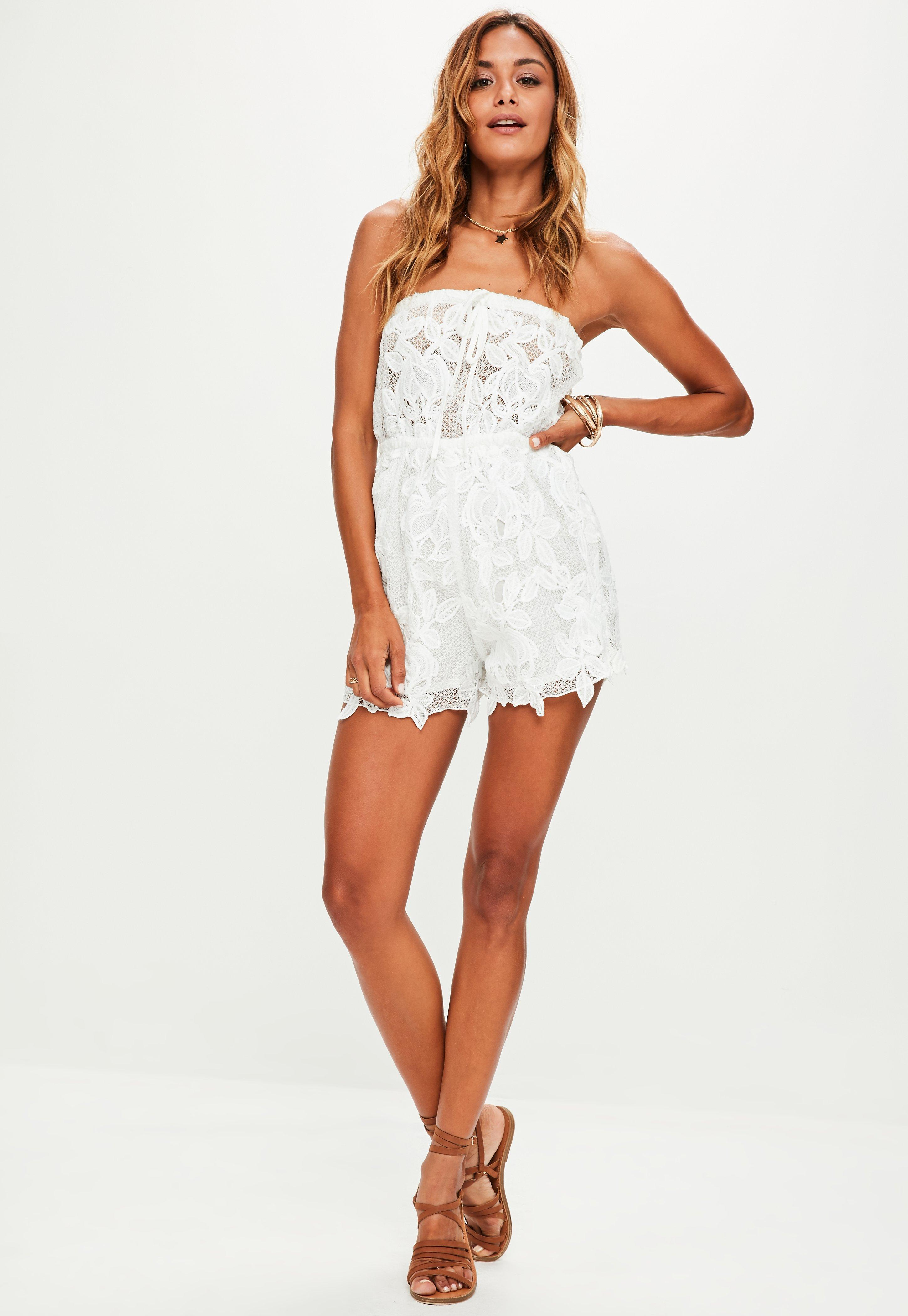 4a068f4e40ef Lyst - Missguided White Bandeau Lace Romper in White