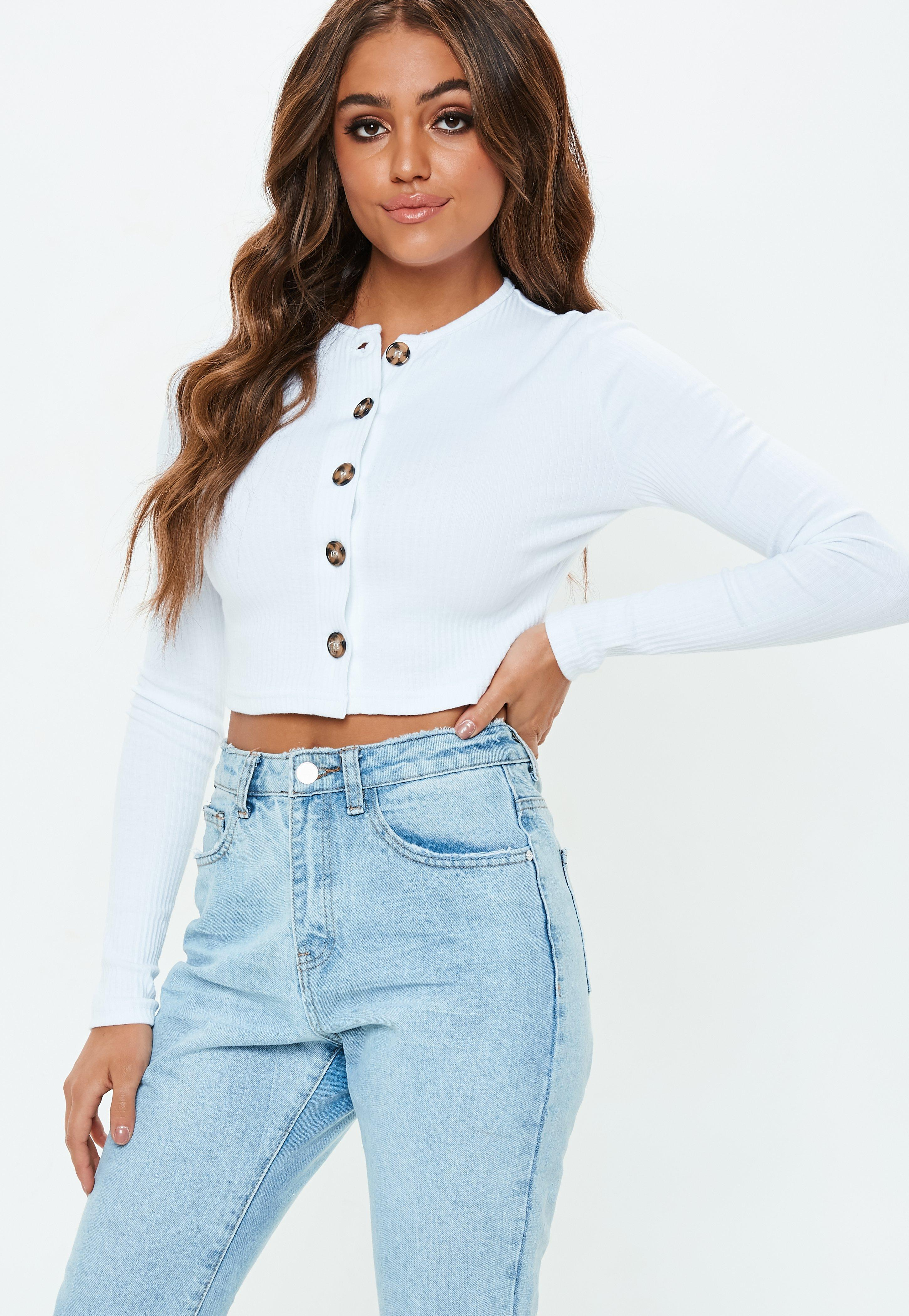 Missguided White Horn Button Long Sleeve Crop Top in White ...