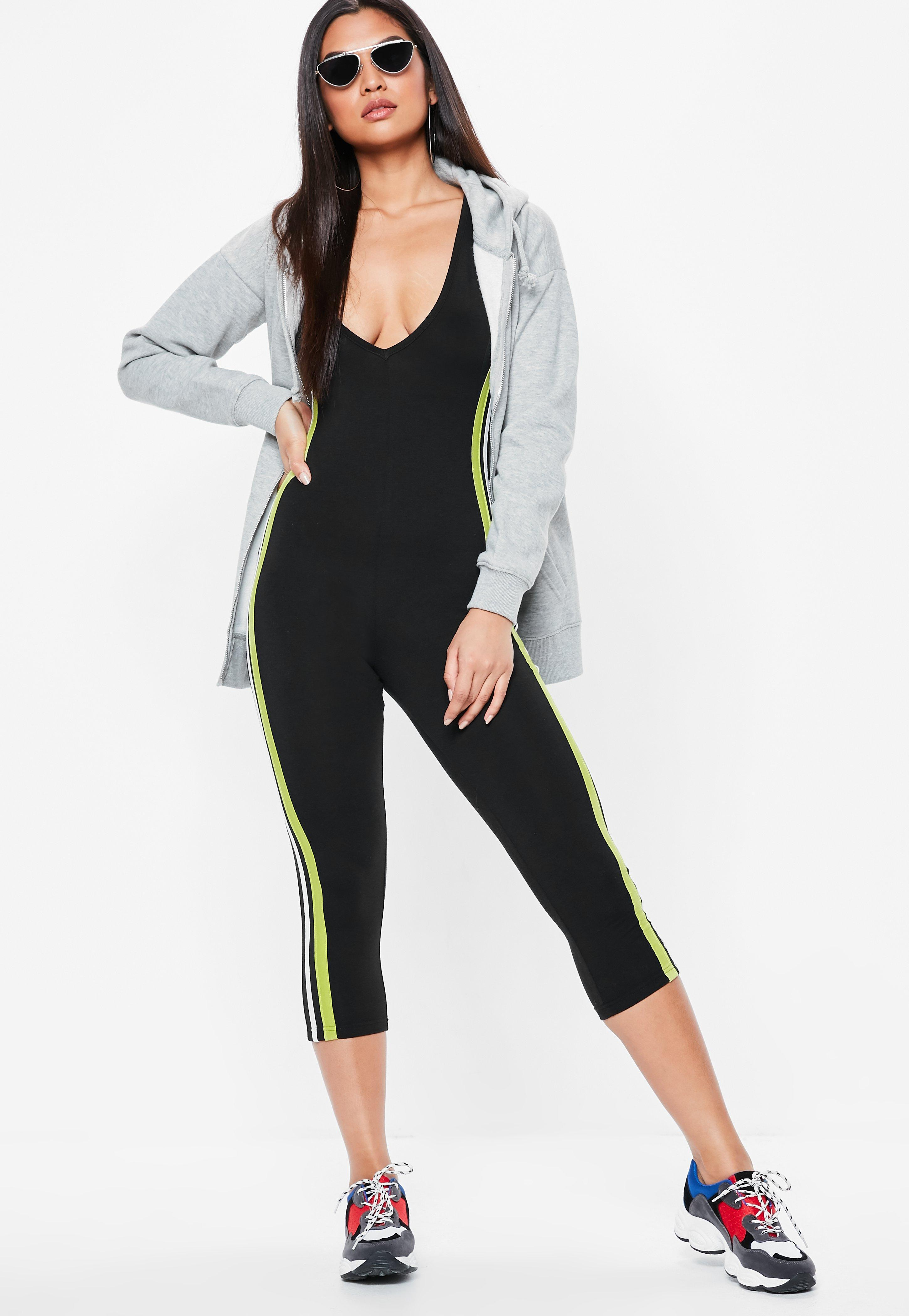 13d751a43d8 Lyst - Missguided Black Side Stripe Jersey Unitard Jumpsuit in Black