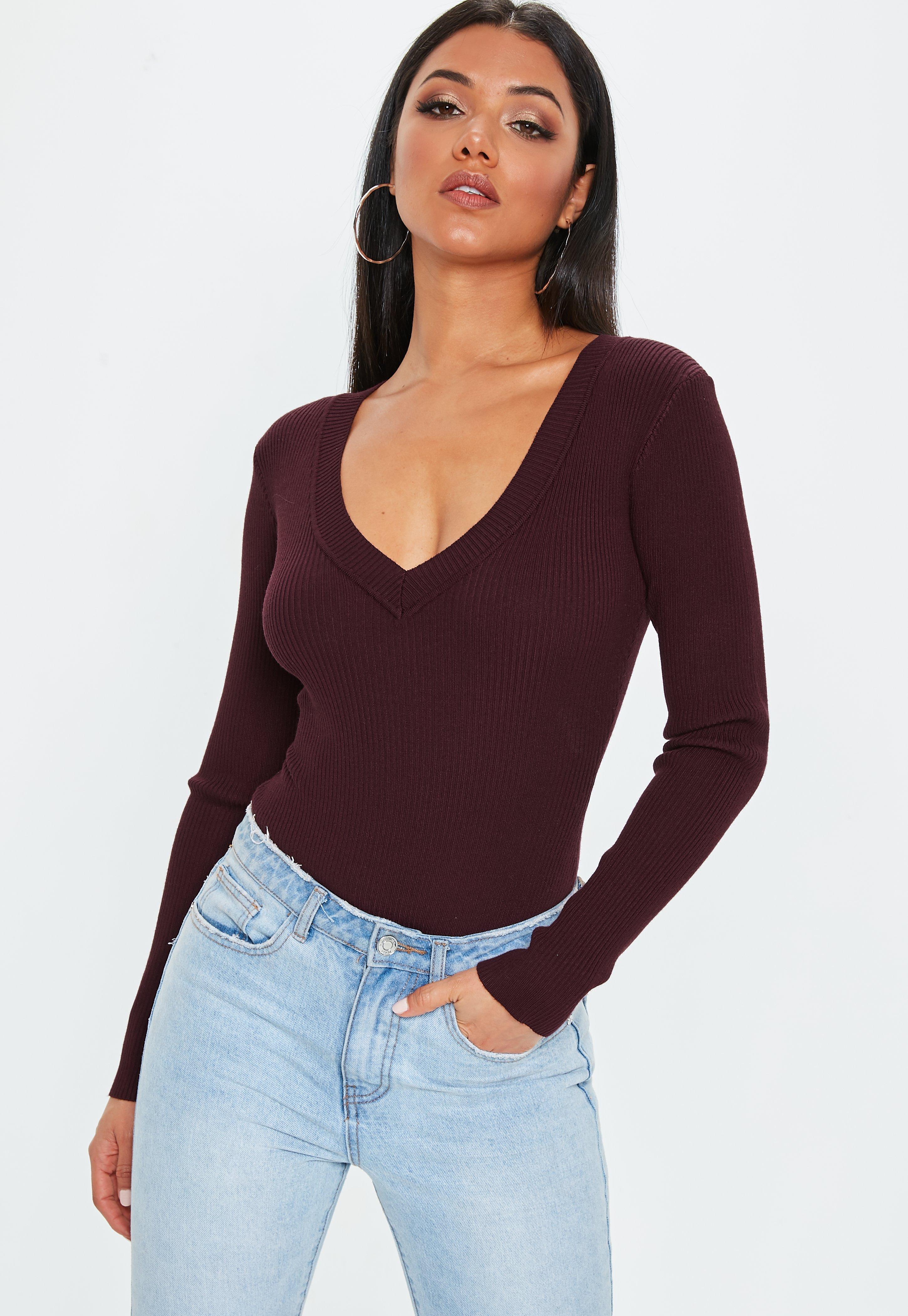 70de3d94b5 Lyst - Missguided Wine Ultimate Plunge Knitted Bodysuit in Purple