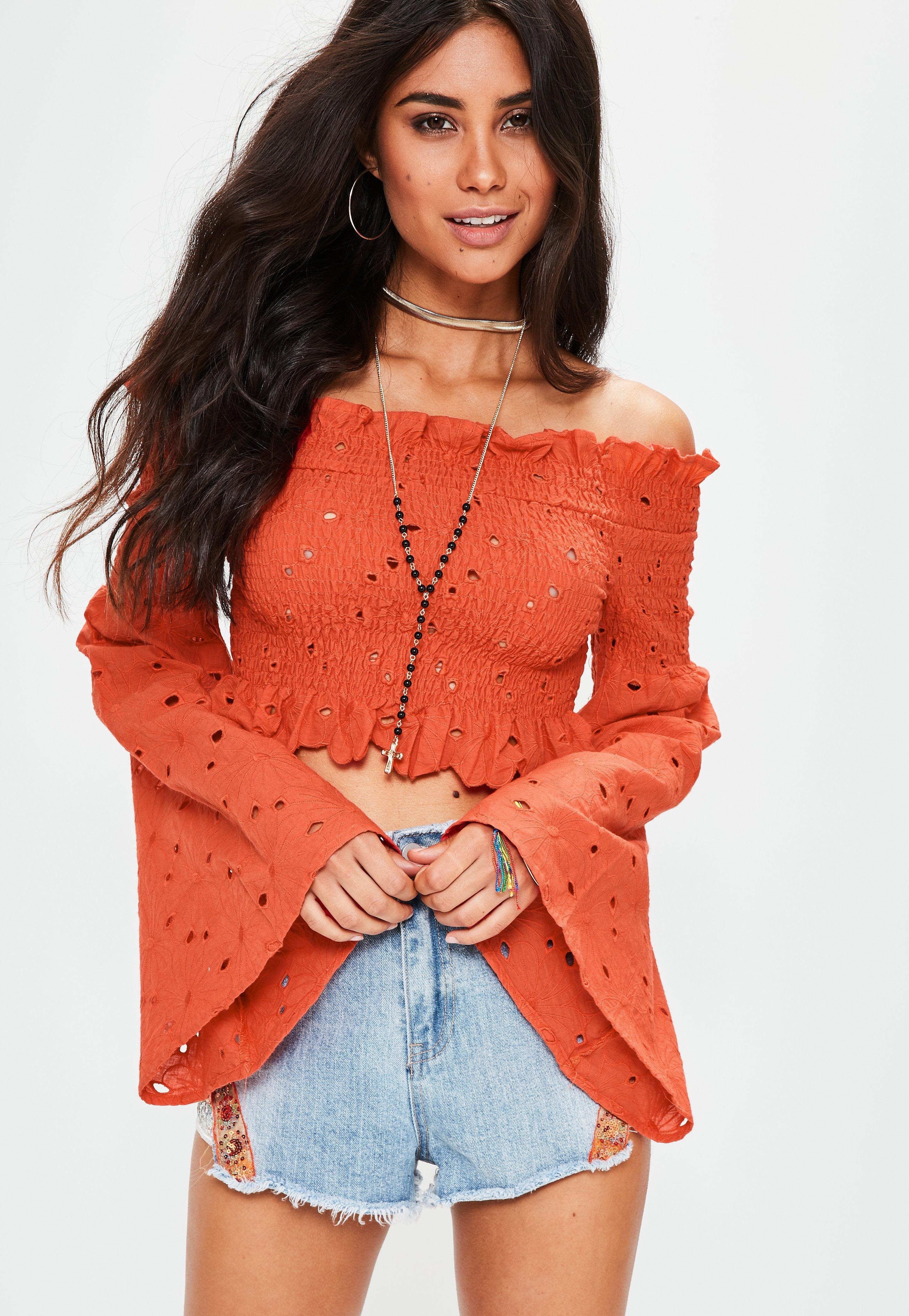 Orange Top With Umbrella Sleeves The Vanca: Missguided Orange Extreme Sleeve Shirred Embroidered Crop