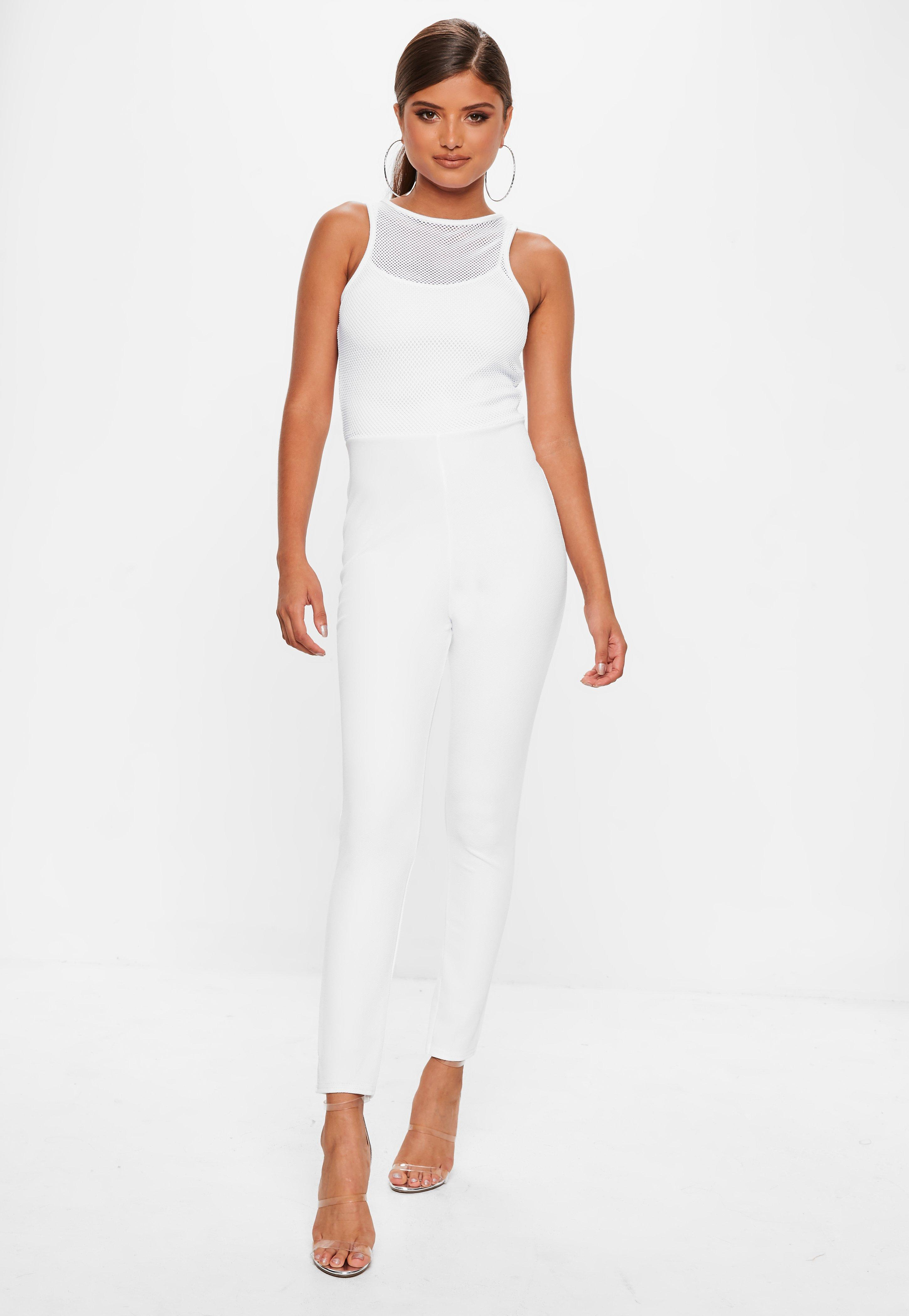 856b8b3cd41320 Missguided - White Fishnet Top Jumpsuit - Lyst. View fullscreen