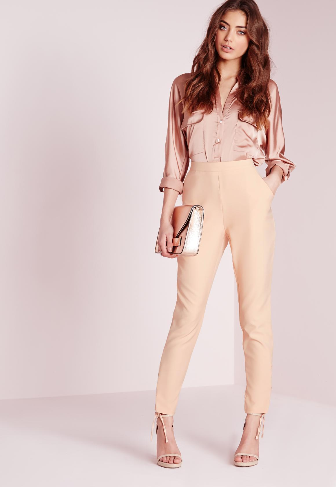 9877904389c Lyst - Missguided Eyelet Detail Crepe Cigarette Trousers Nude in Natural