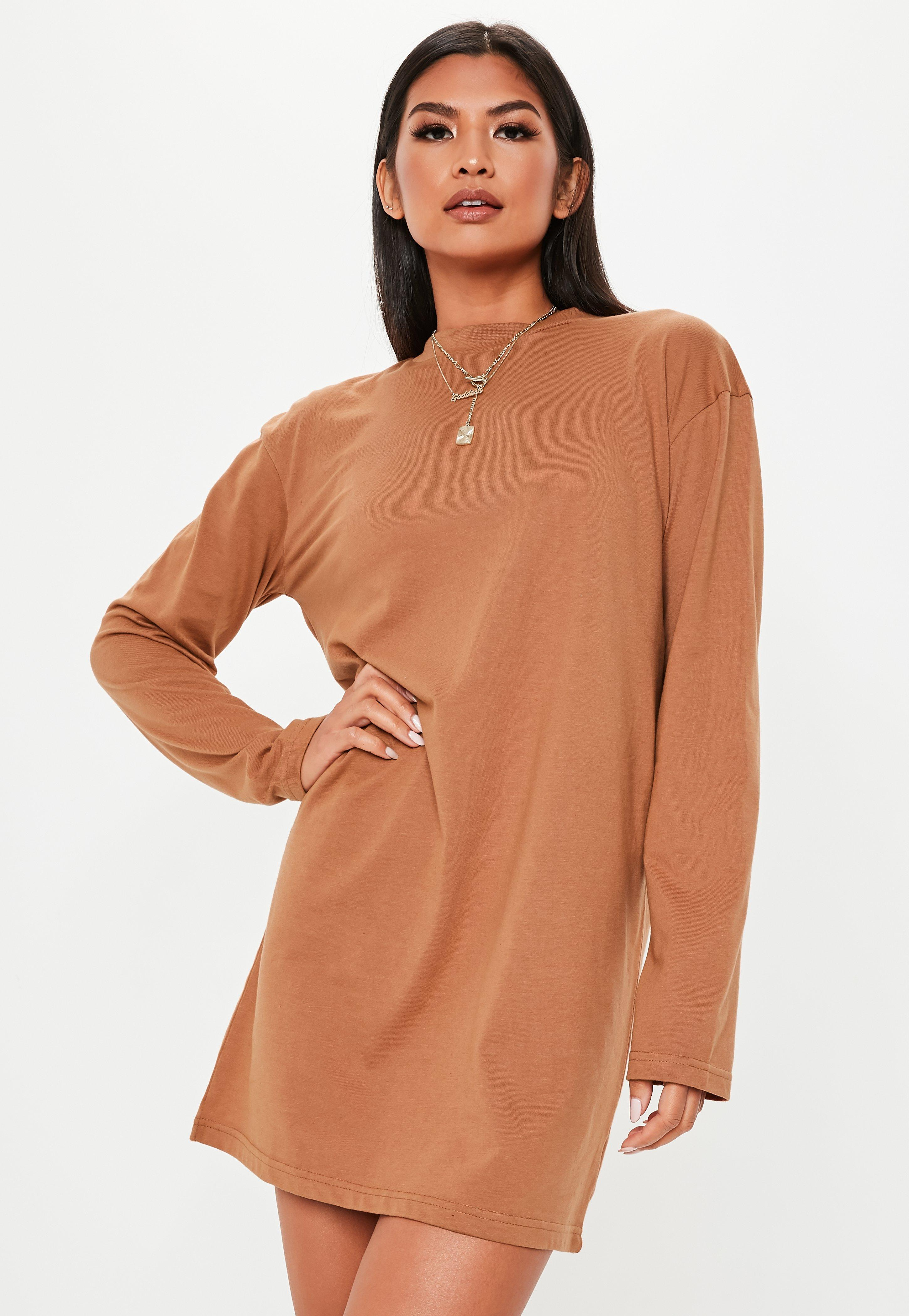 e72d4be637 Lyst - Missguided Rust Long Sleeve T Shirt Mini Dress in Brown