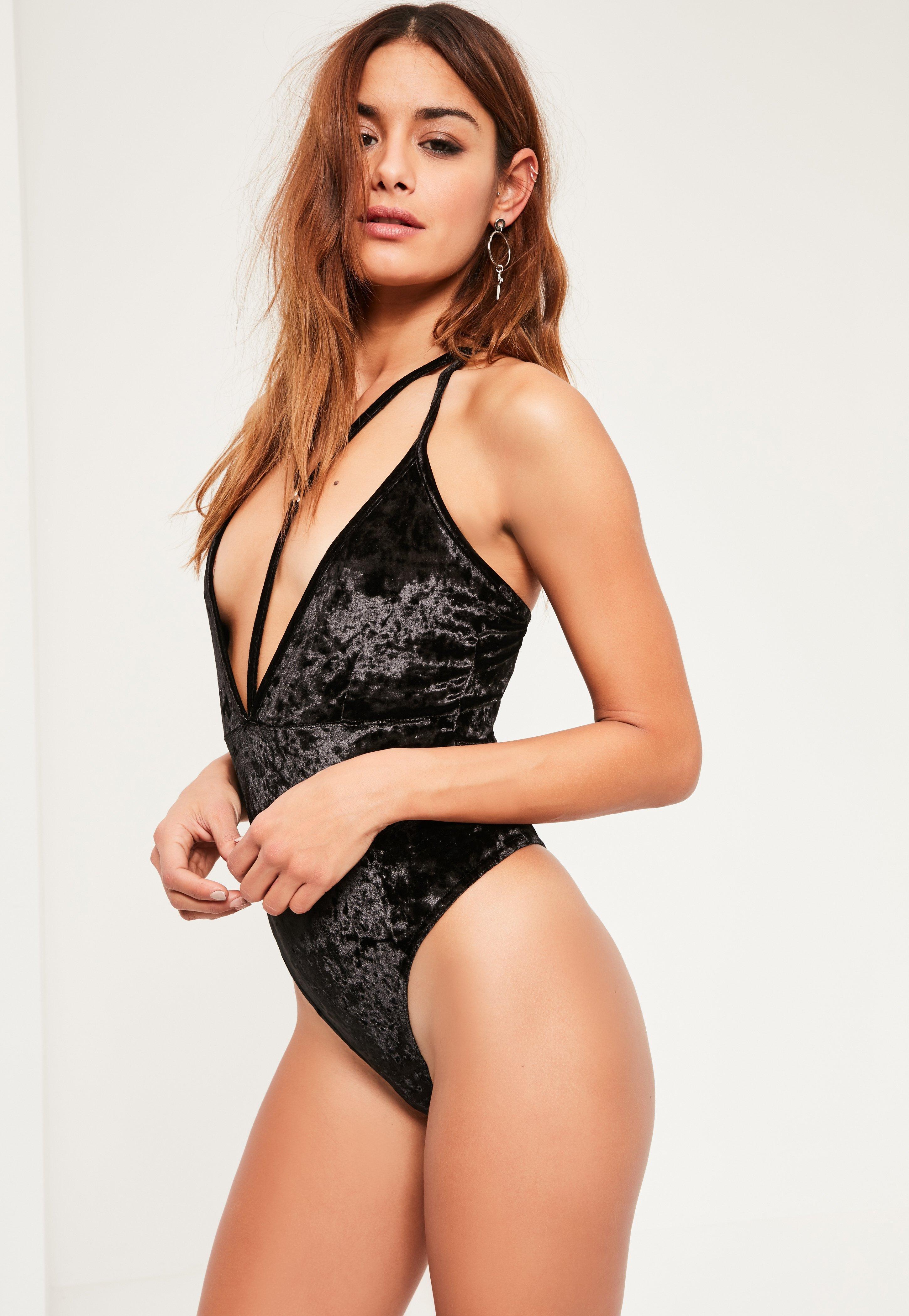 d46795612ab Lyst - Missguided Black Harness Velvet Bodysuit in Black