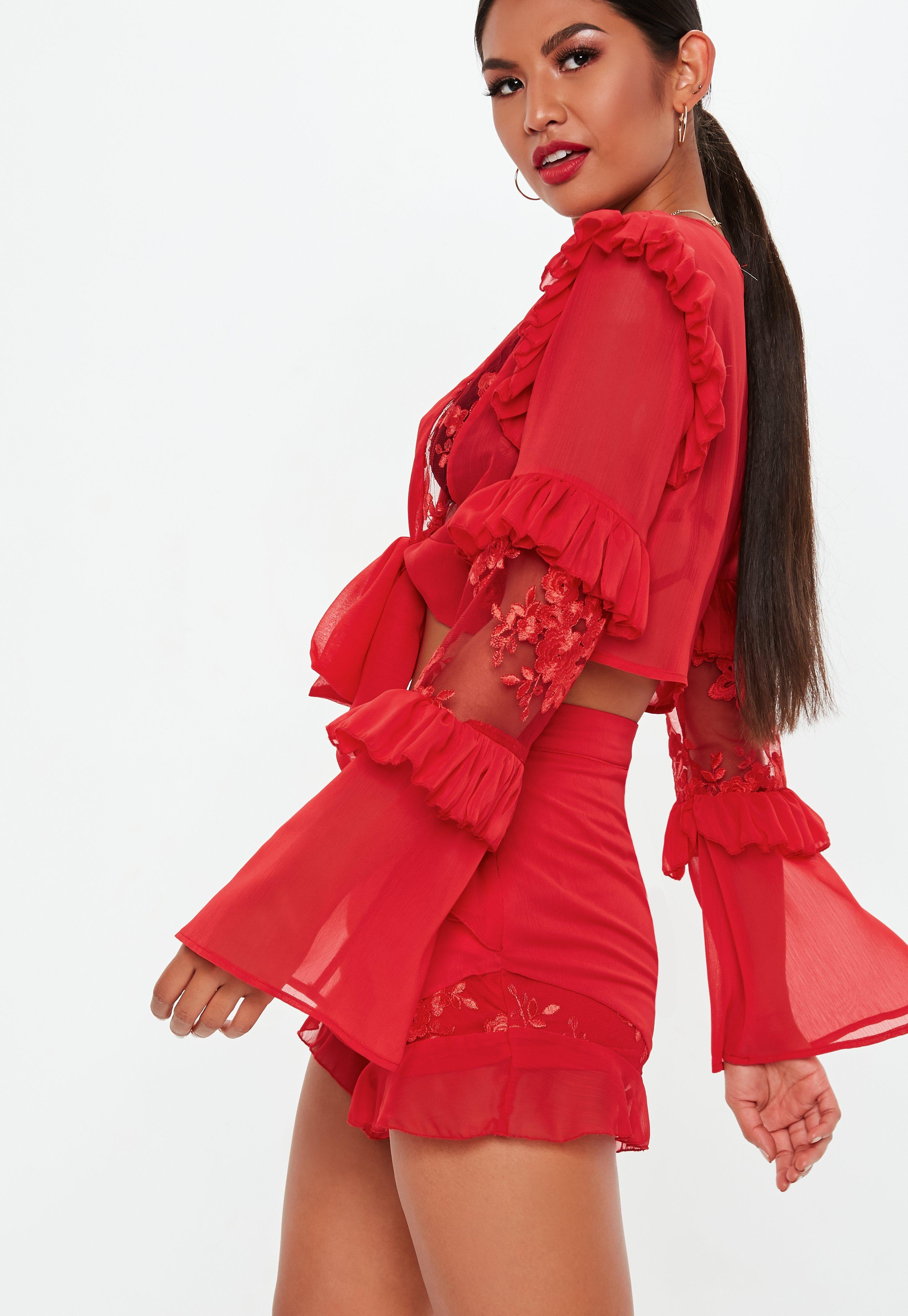 1cc1b42502e Missguided Red Embroided Tiered Frill Tie Crop Top in Red - Lyst