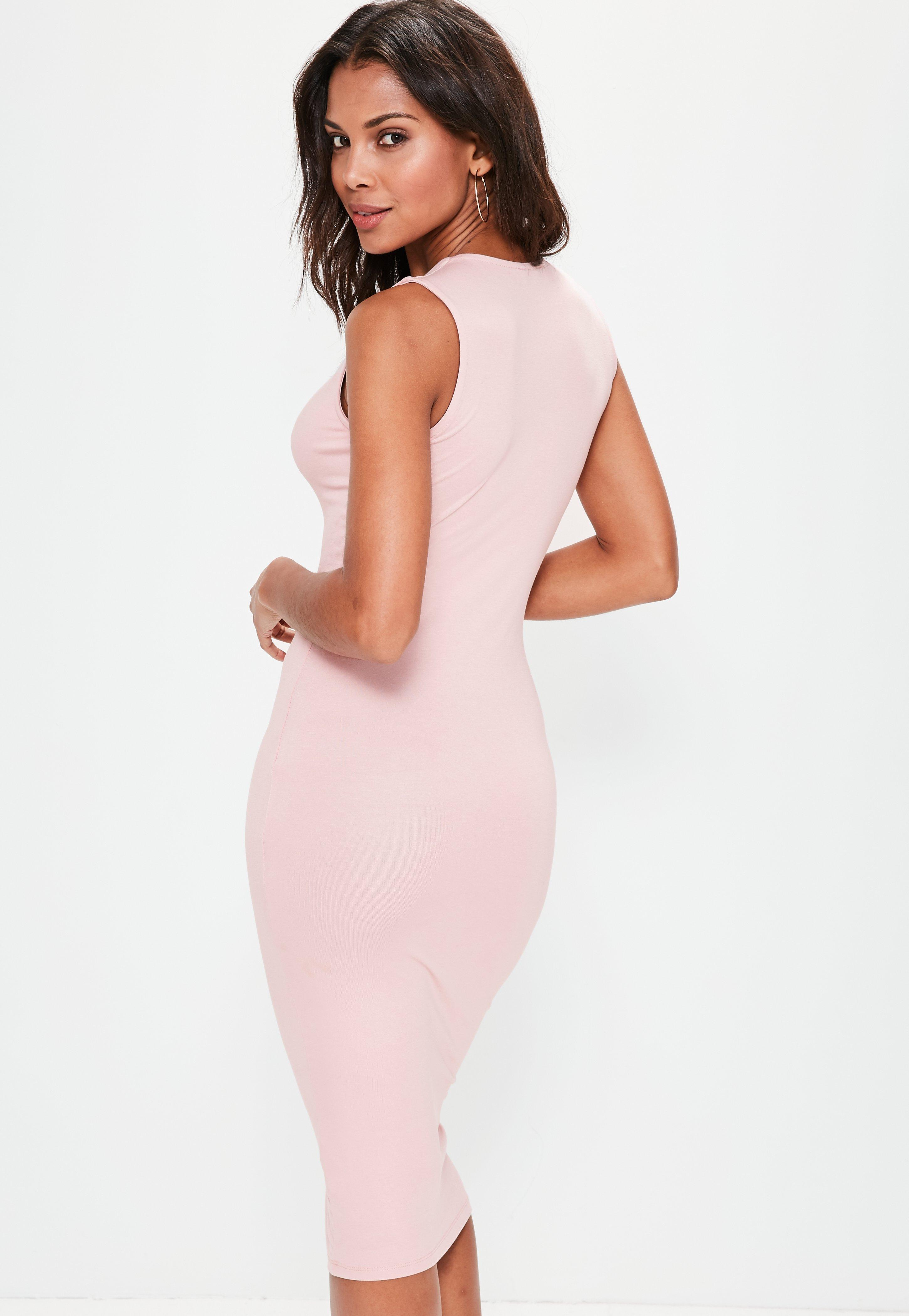 Lyst - Missguided Pink Extreme Plunge Midi Band Dress in Pink 7c38a9d18