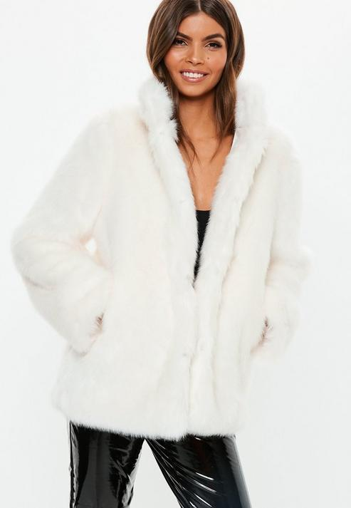 92ac91183d9b Missguided White Stand Collar Faux Fur Coat in White - Lyst