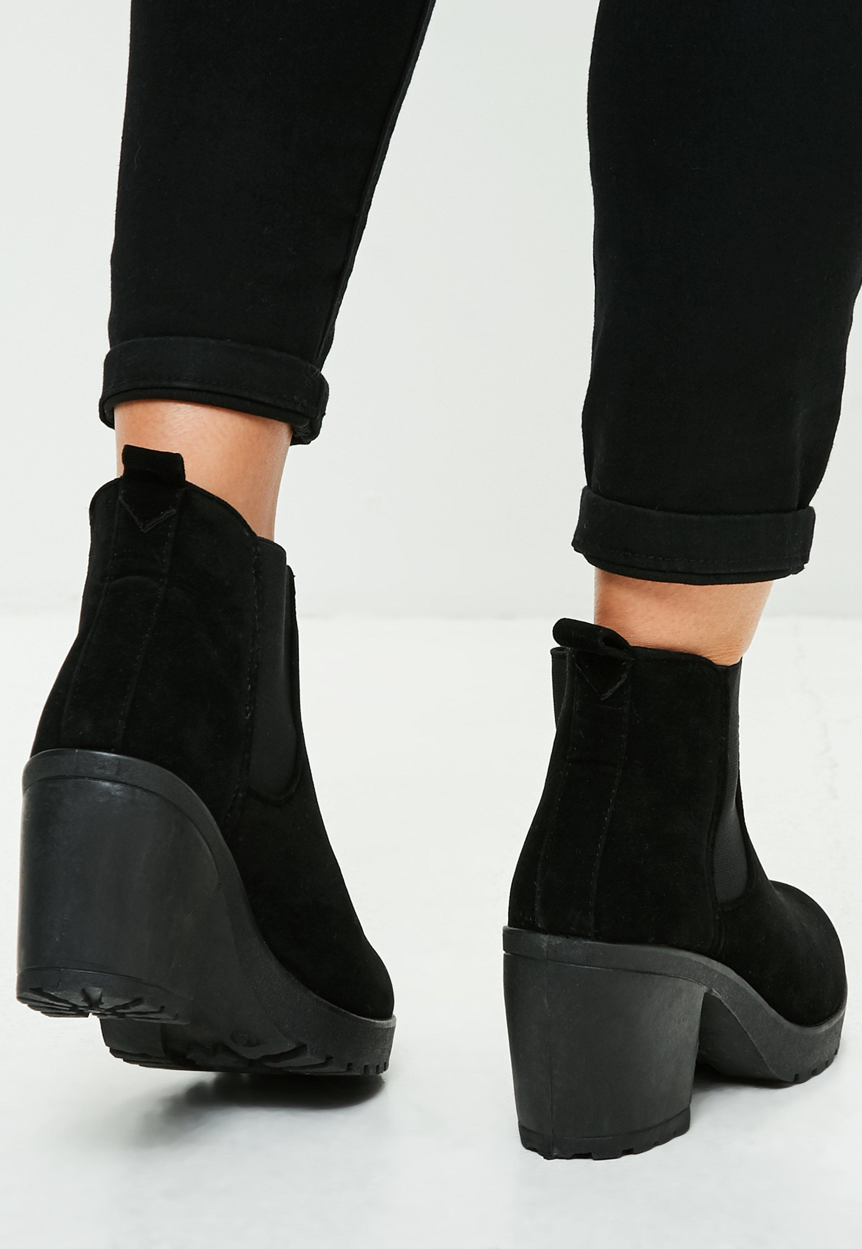 175030e96548 Lyst - Missguided Black Faux Suede Cleated Sole Ankle Boots in Black