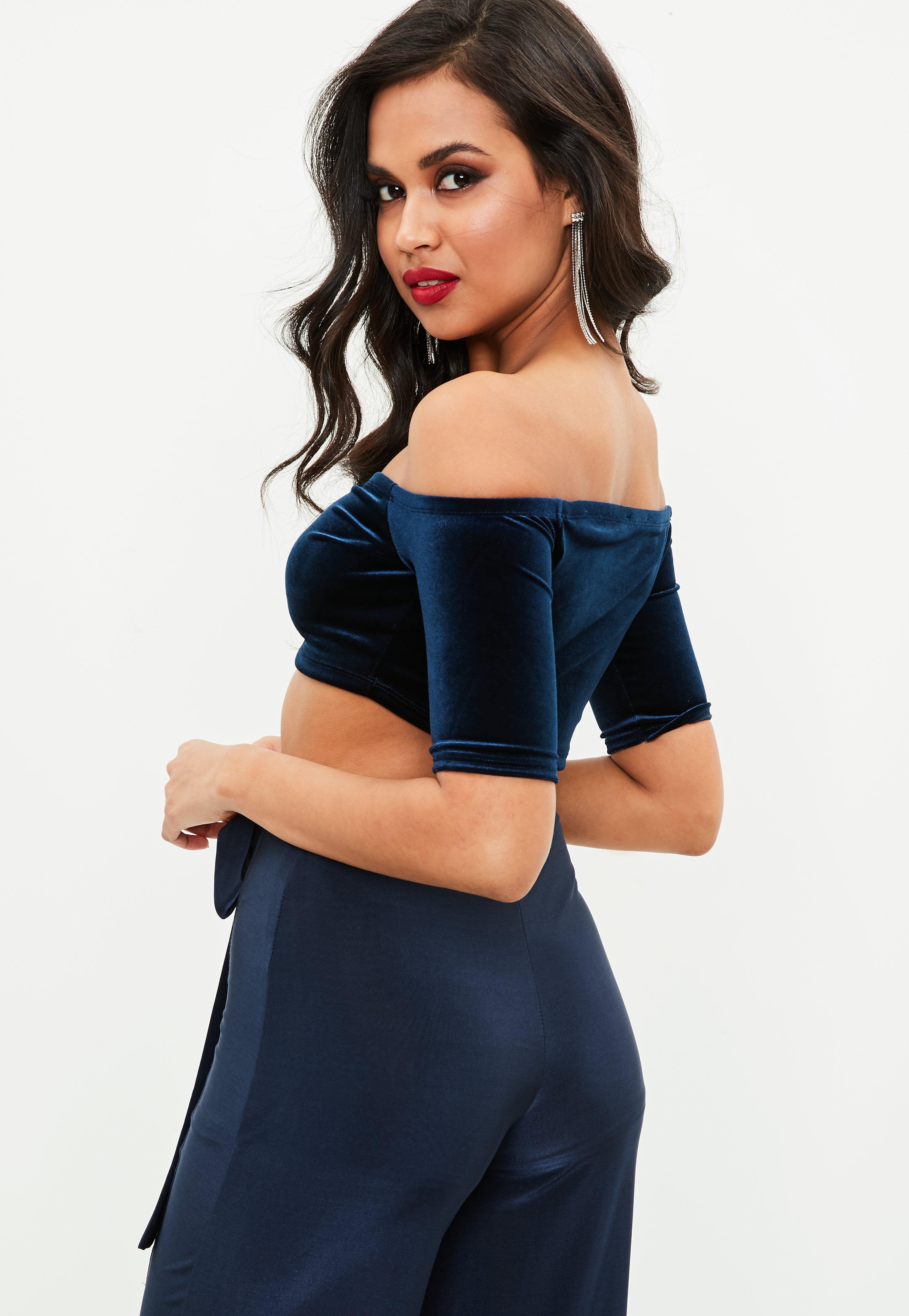 b6b467170c27c Lyst - Missguided Navy Velvet Ruched Bardot Crop Top in Blue