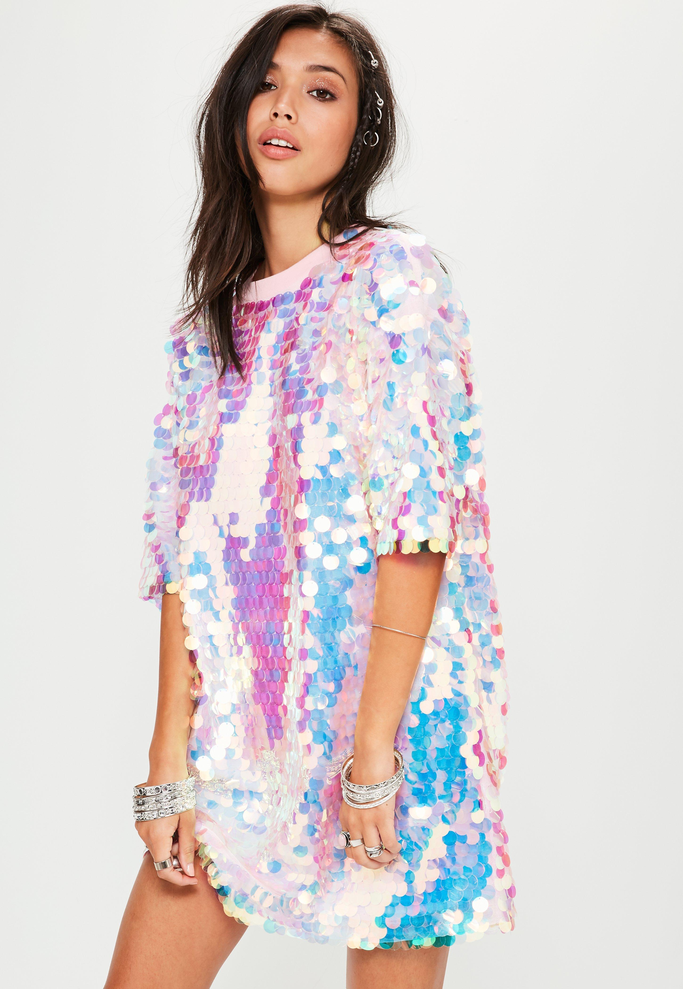 d83cc0fa1727c Lyst - Missguided Pink Sequin T Shirt Dress in Pink