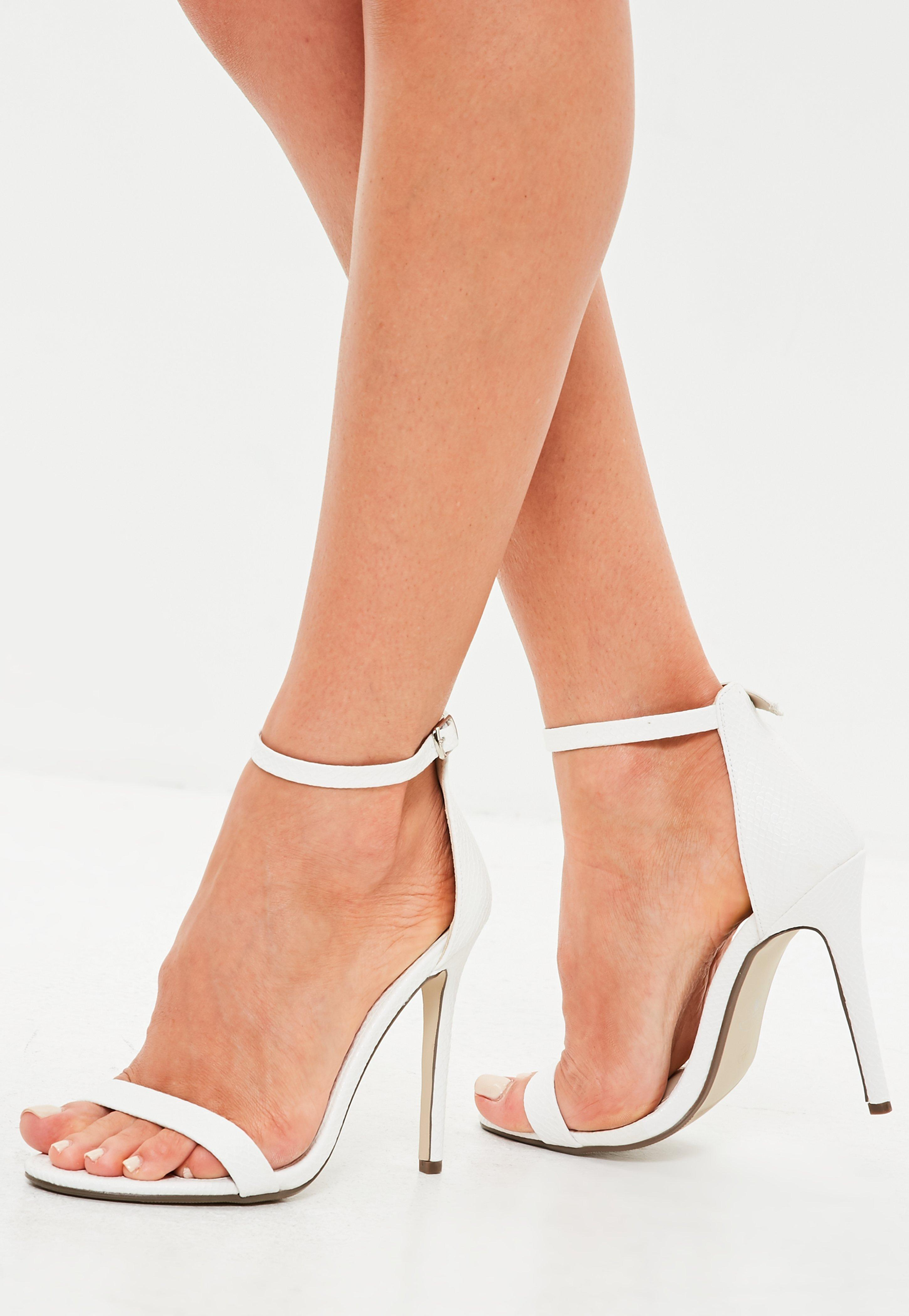 752bfca714d Lyst - Missguided White Flat Two Strap Barely There Sandals in White