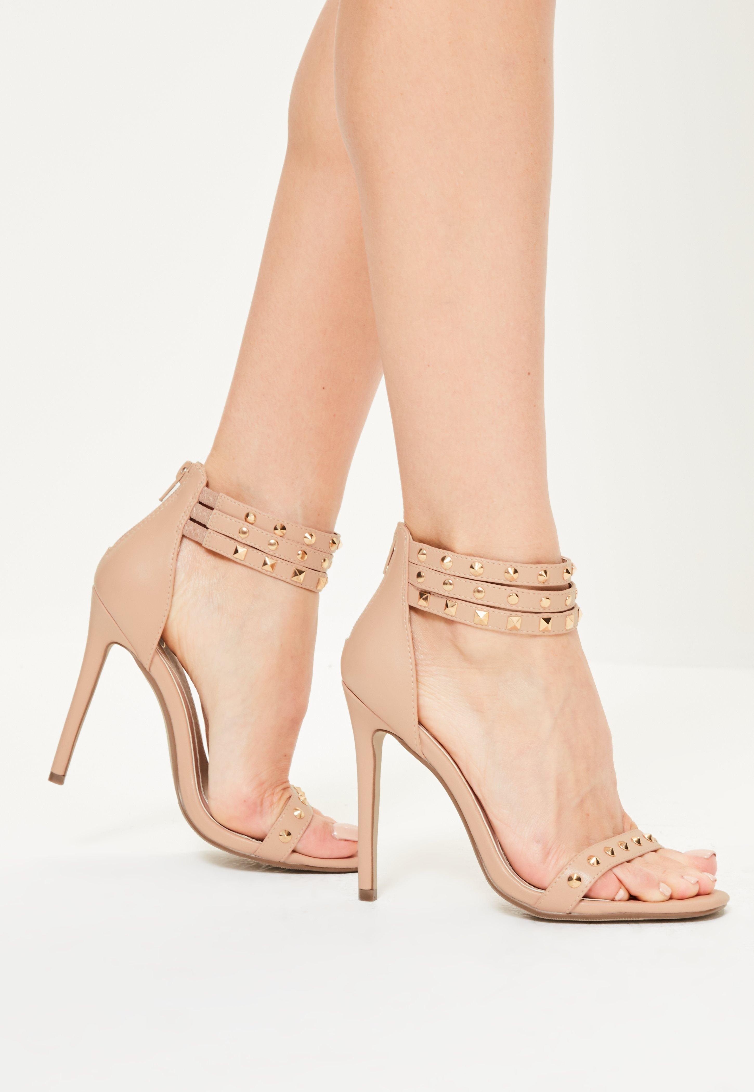 2d32ec4ee423 Lyst - Missguided Nude 3 Strap Studded Heeled Sandals in Natural