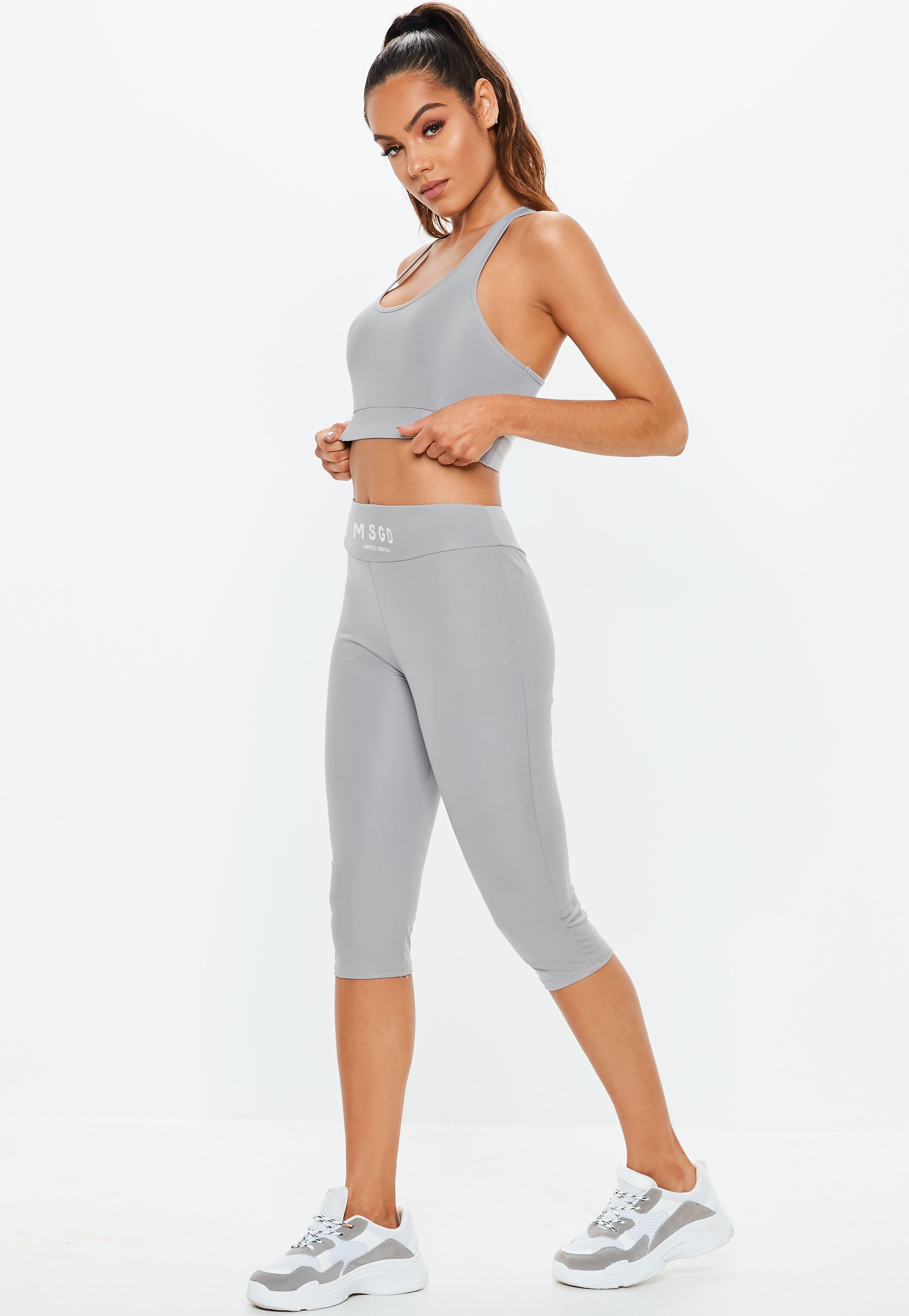 6549e7af5b31f Lyst - Missguided Active Grey Three Quarter Leggings in Gray