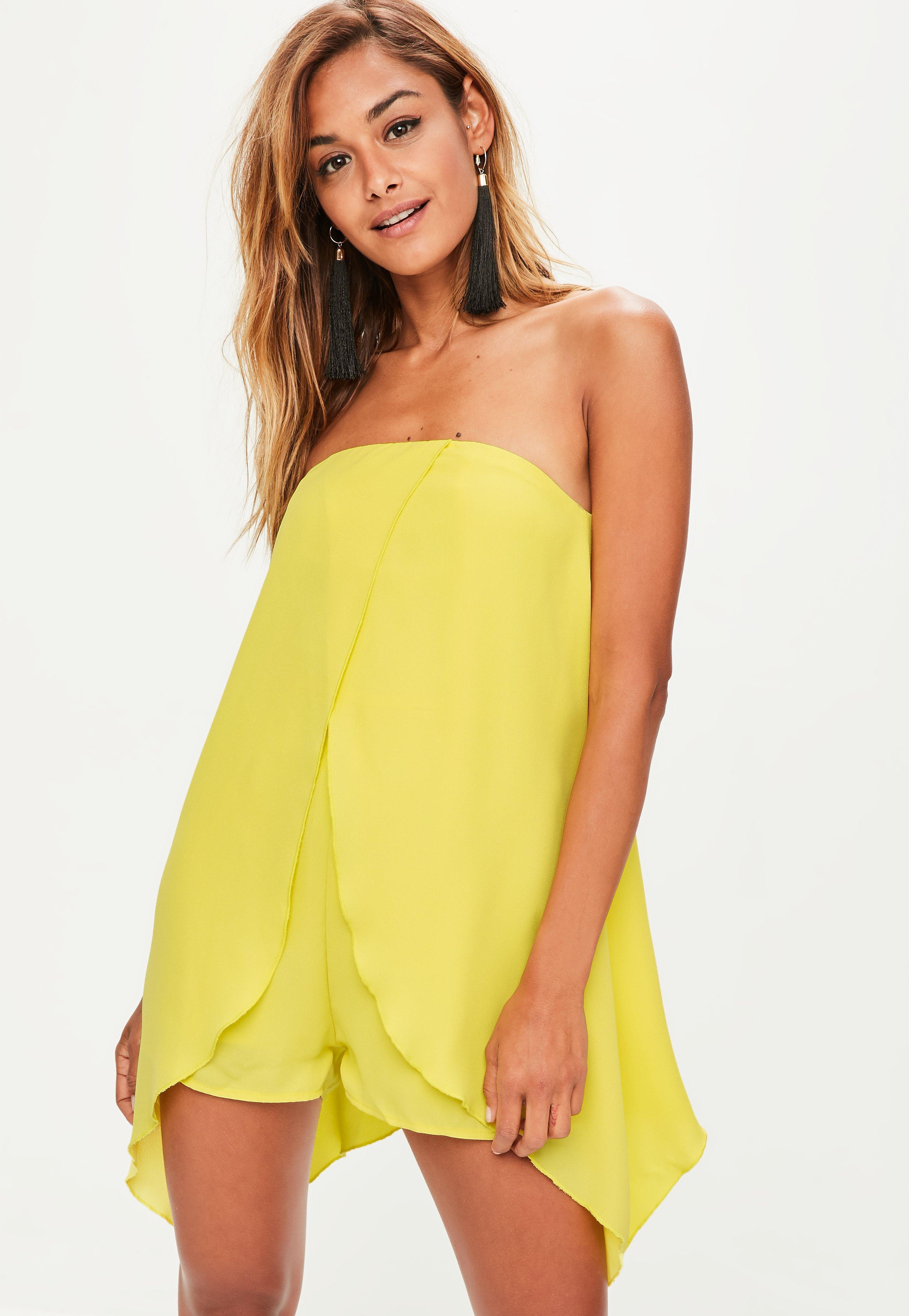 381943d7b0fa Lyst - Missguided Yellow Bandeau Double Layer Playsuit in Yellow