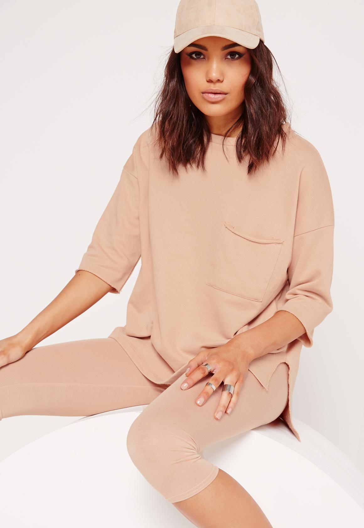 72906422a2b Lyst - Missguided Pocket Front T Shirt Sweater Nude in Pink